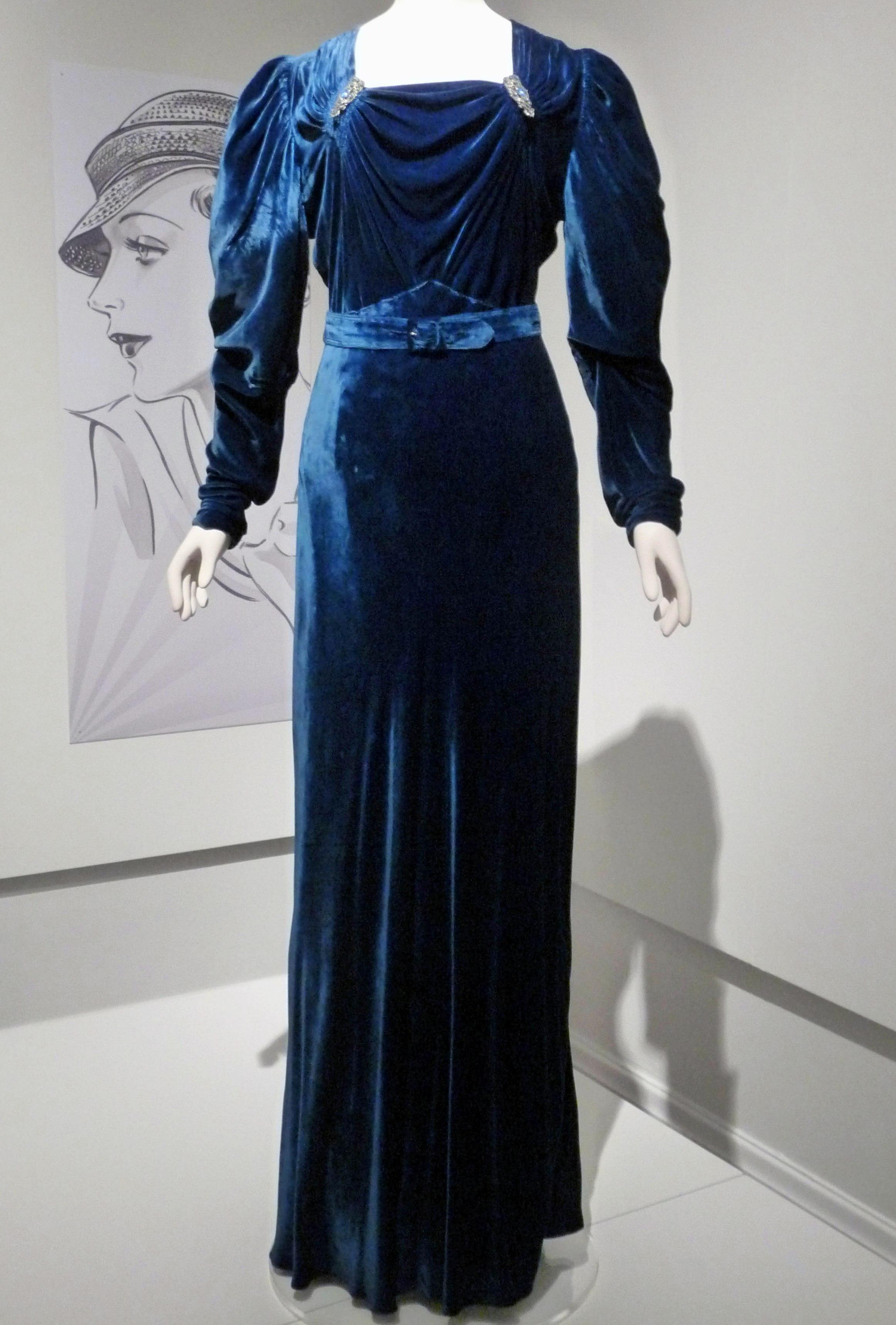 Evening dress, silk velvet, 1936-37