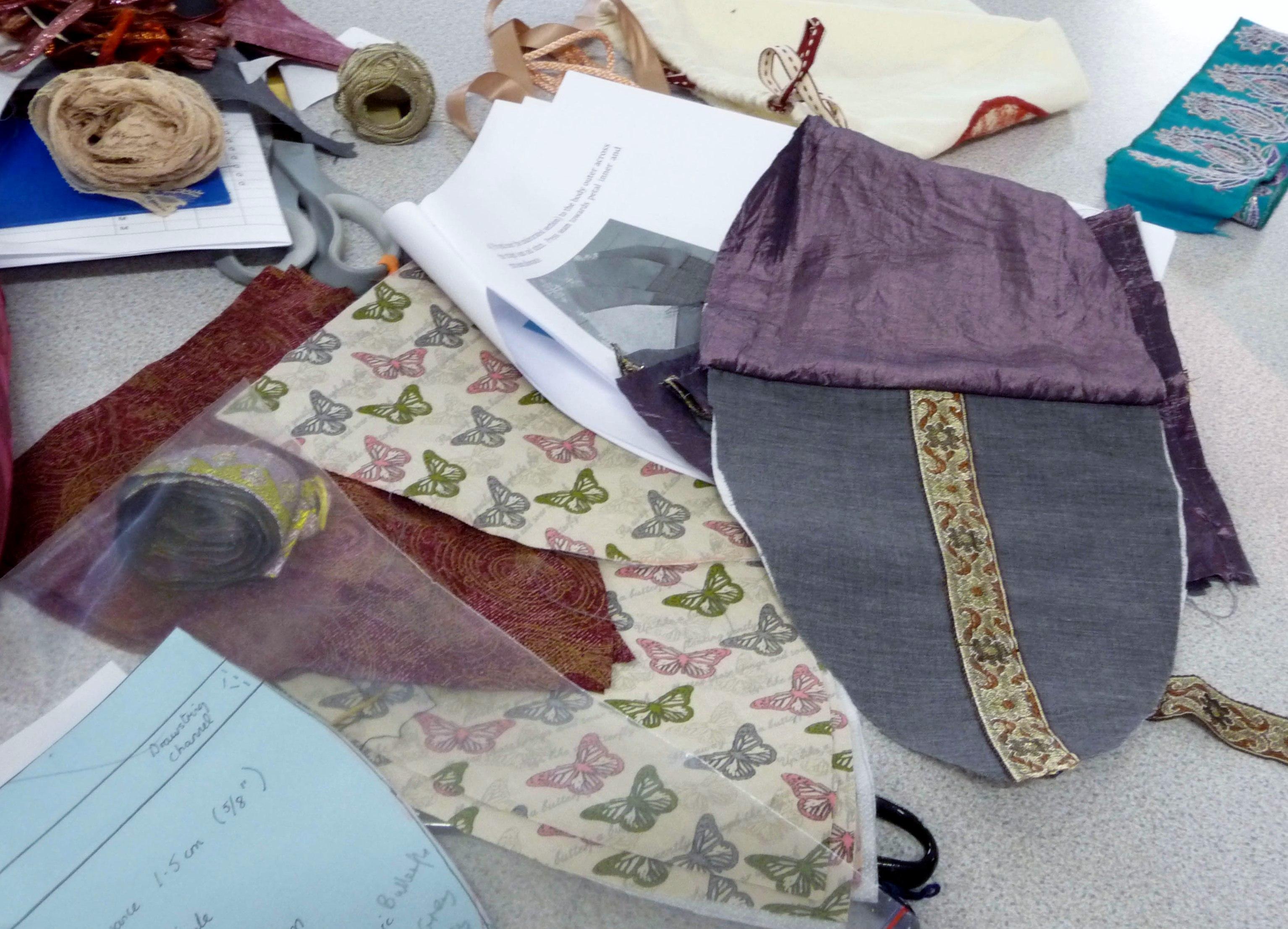 a bag under construction at Ravishing Reticules workshop