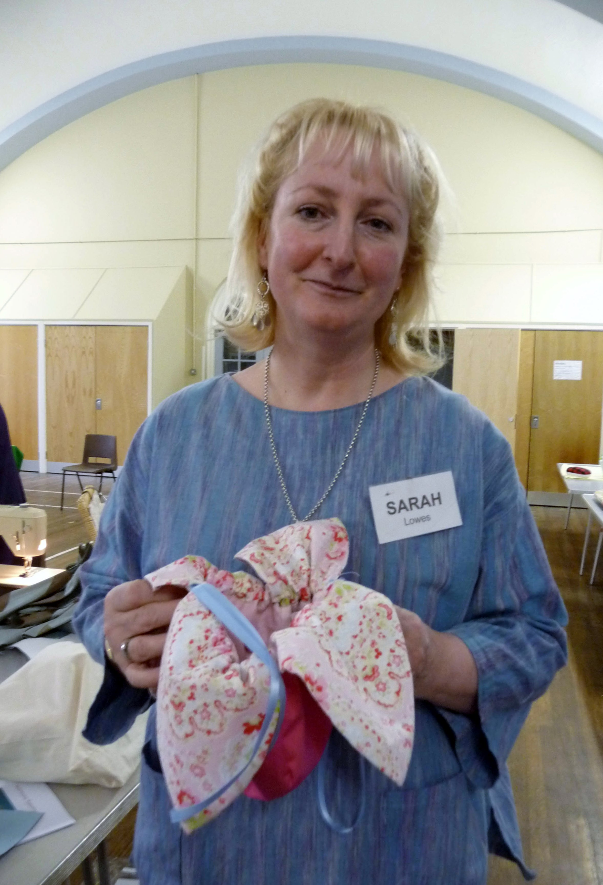 Sarah with her completed bag at Ravishing Reticules workshop