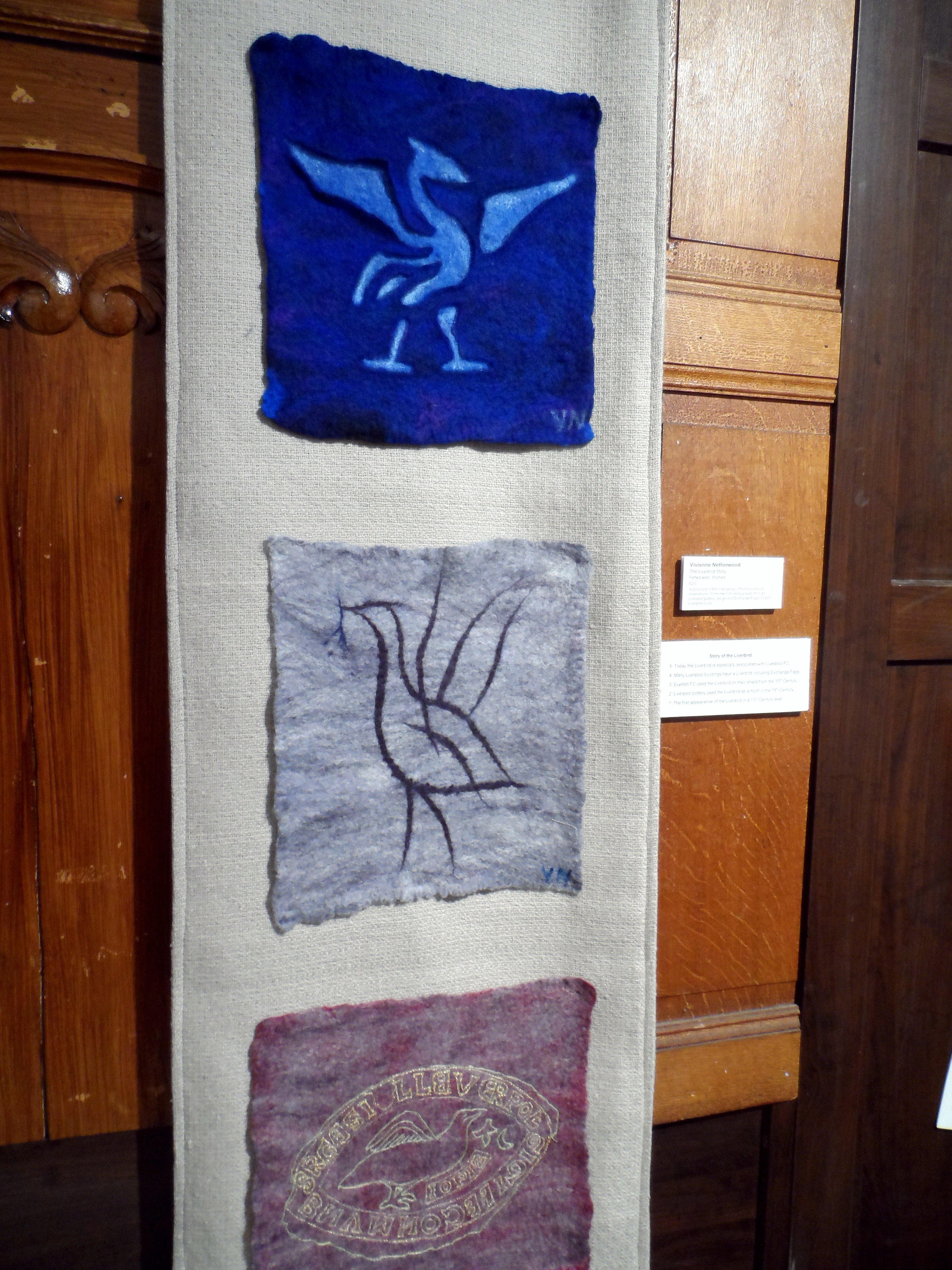 (detail) THE LIVERBIRD STORY by Vivienne Netherwood, felted wool, stitched, Re-View Textile exhibition, Nov 2019