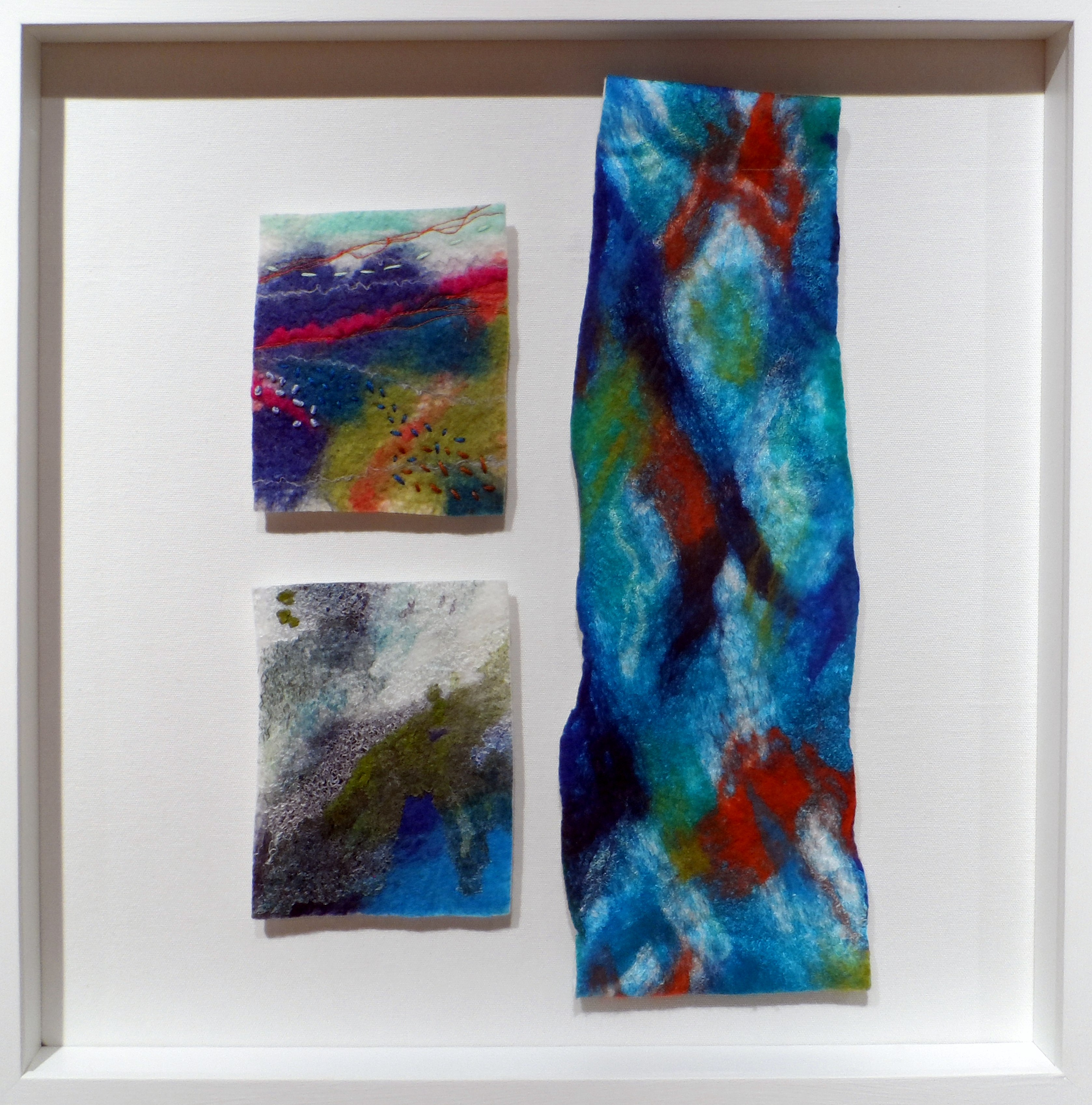 UNTITLED A by Cath Carmyllie, felted stitched, dyed, printed textiles, Re-View Textile exhibition, Nov 2019