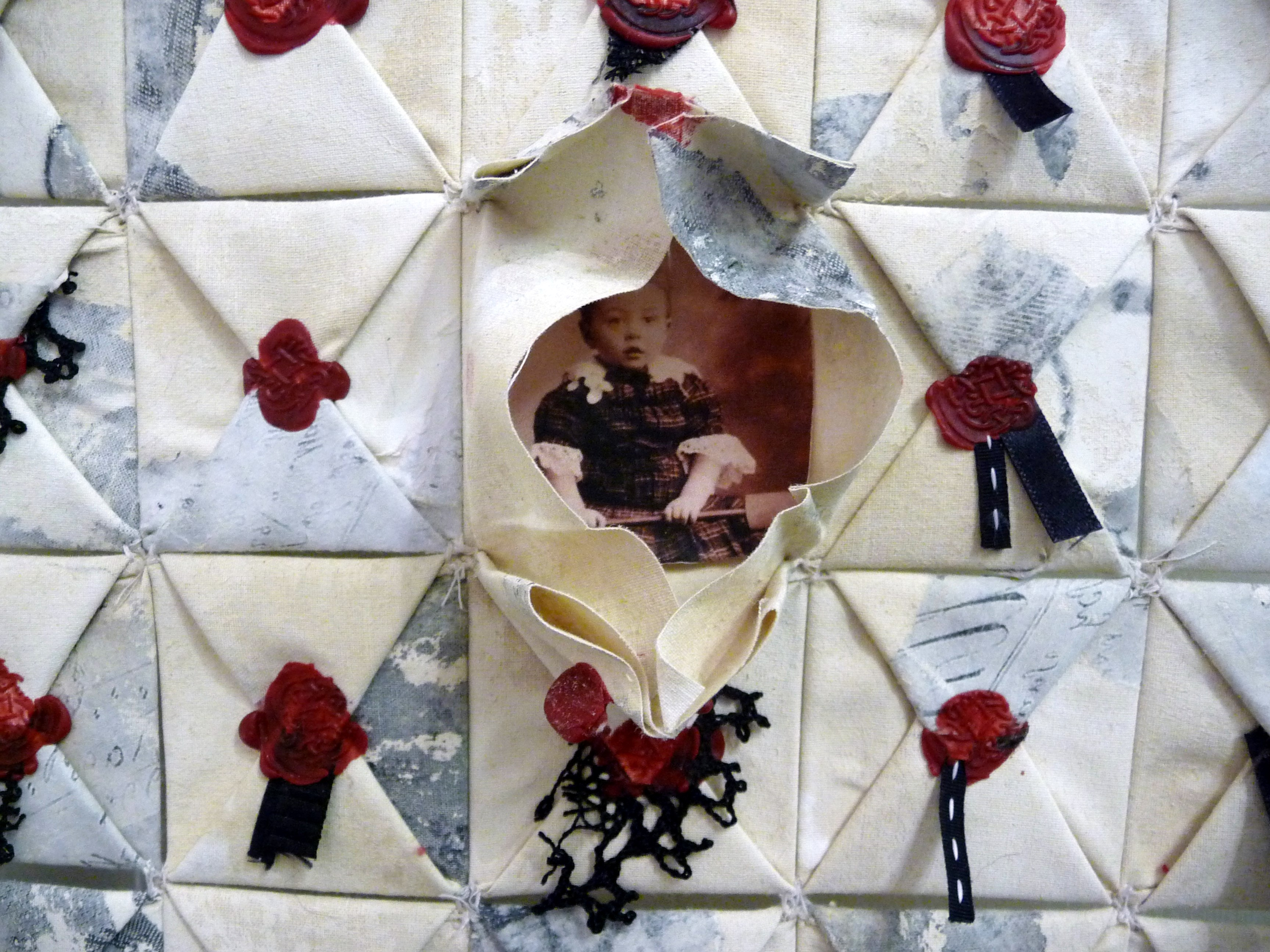 detail of THE FOUNDLINGS - FATE, HOPE & CHARITY 2 by Imogen Riddy of TX Textiles group