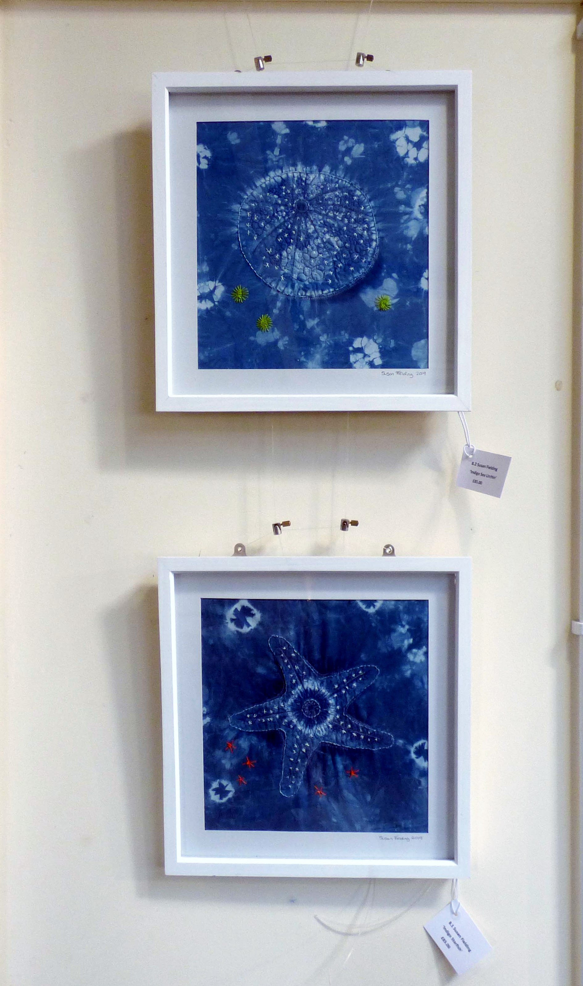 INDIGO SEA URCHIN and INDIGO STARFISH by Susan Fielding, Natural Progression Textile Group, Jan 2020