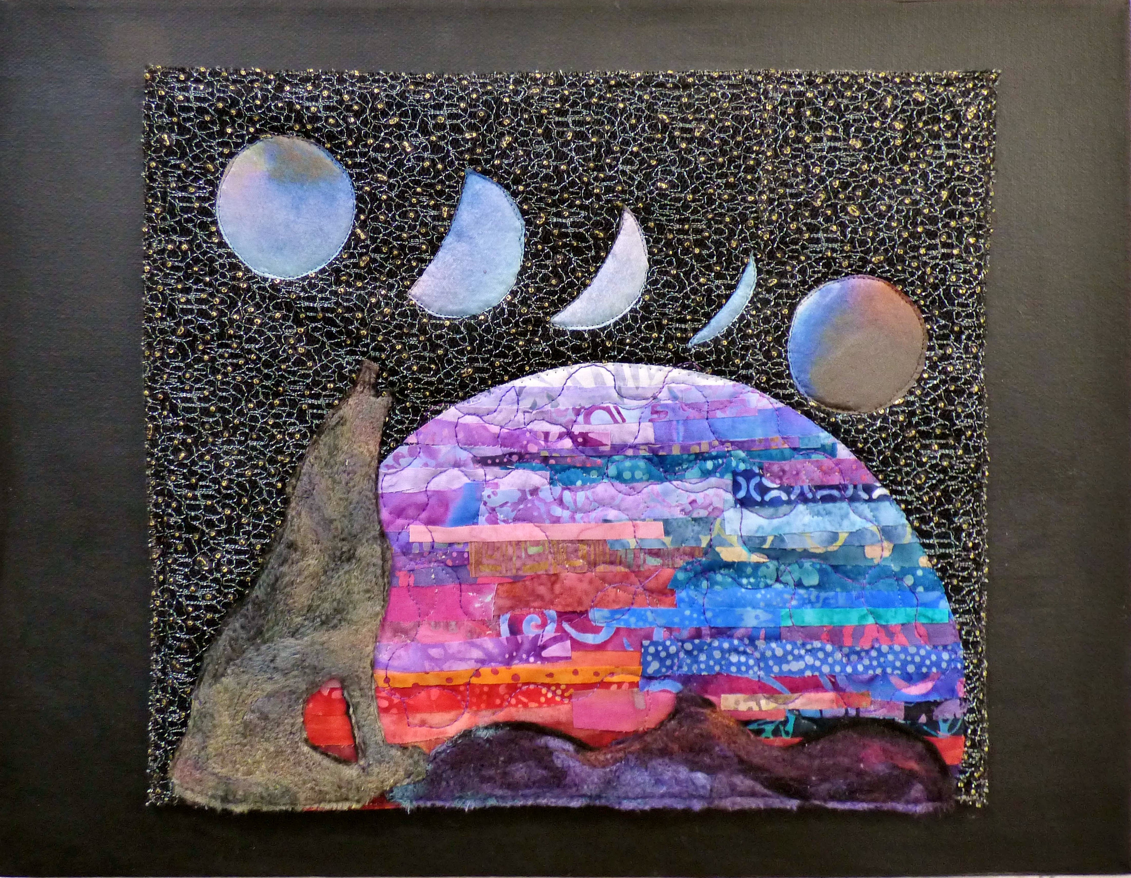 PHASES OF THE MOON: WOLF MOON ECLIPSE by Eileen Norris, Natural Progression Textile Group, Jan 2020