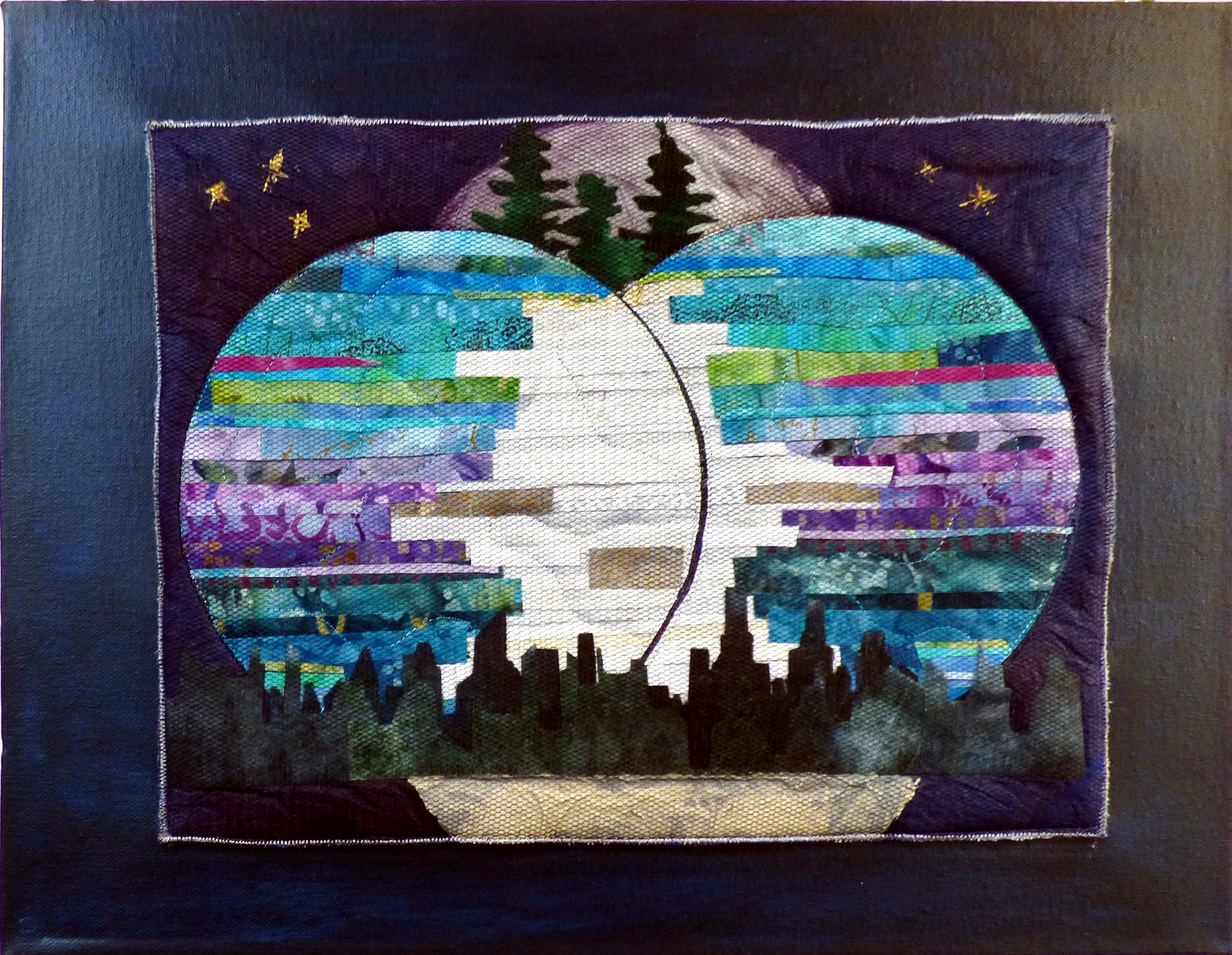 PHASES OF THE MOON: IN A BLUE MOON by Eileen Norris, Natural Progression Textile Group, Jan 2020