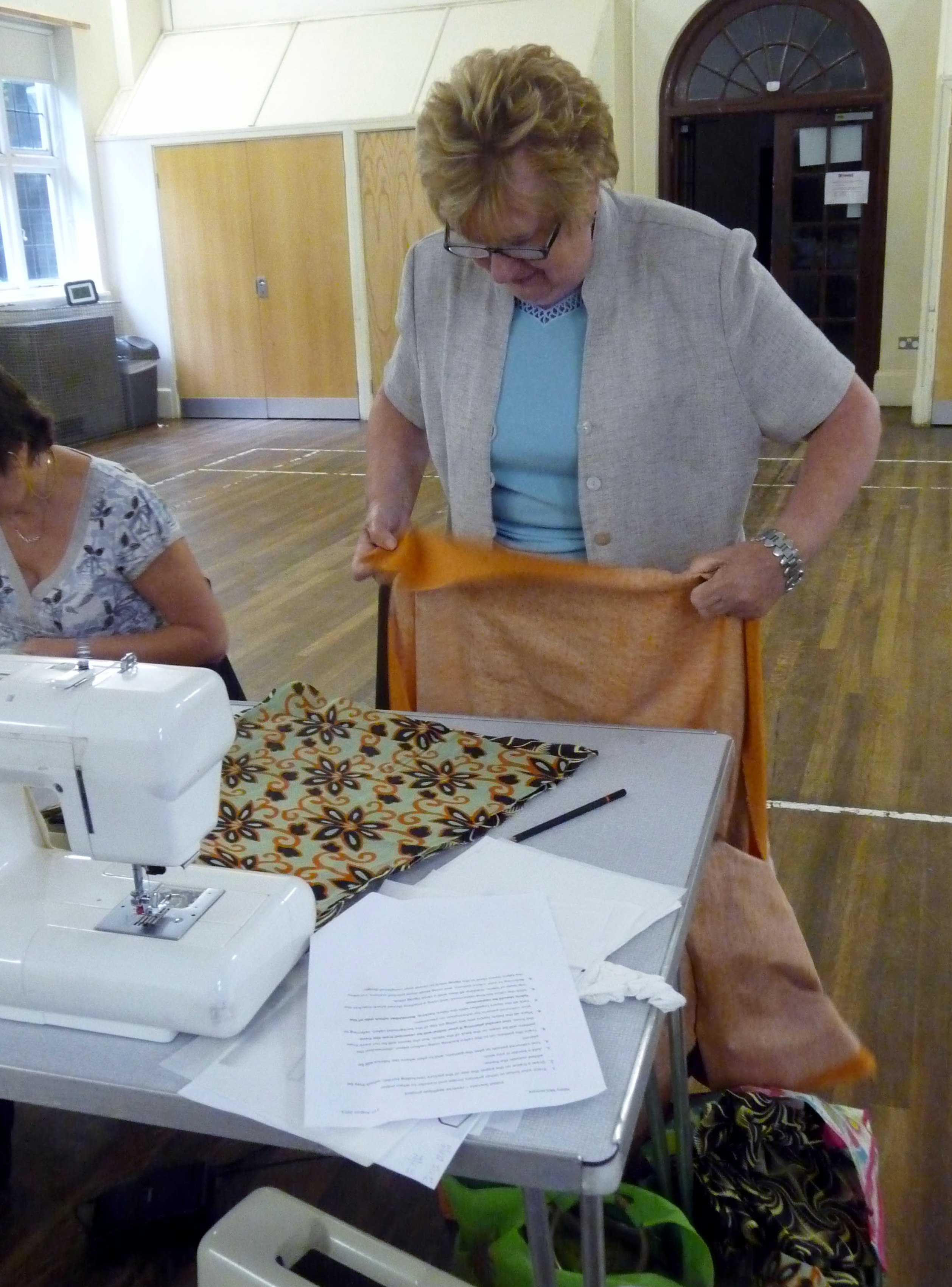 Margaret is choosing her fabrics
