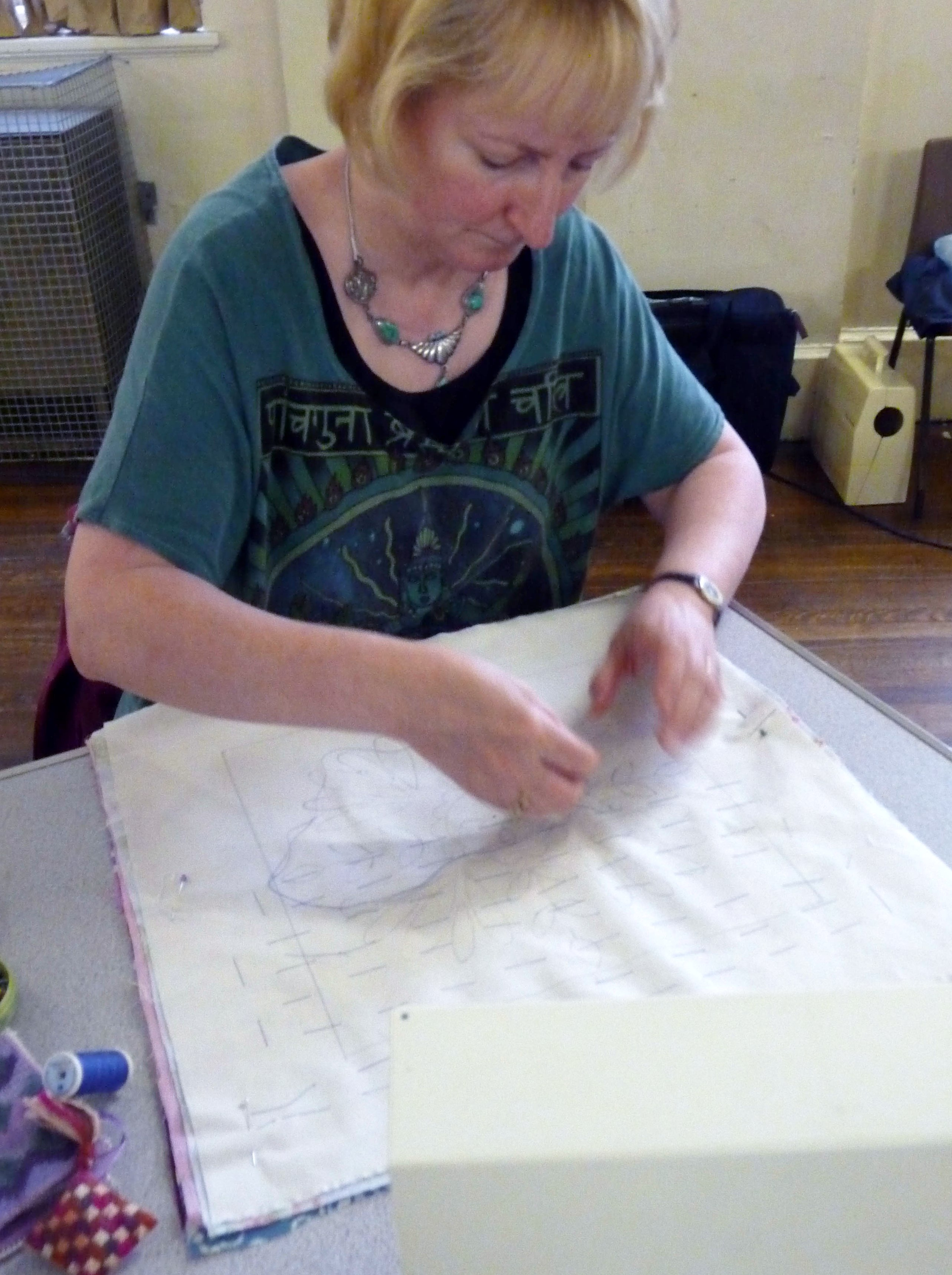 it is important to tack the layers so that they will not shift when machine sewn