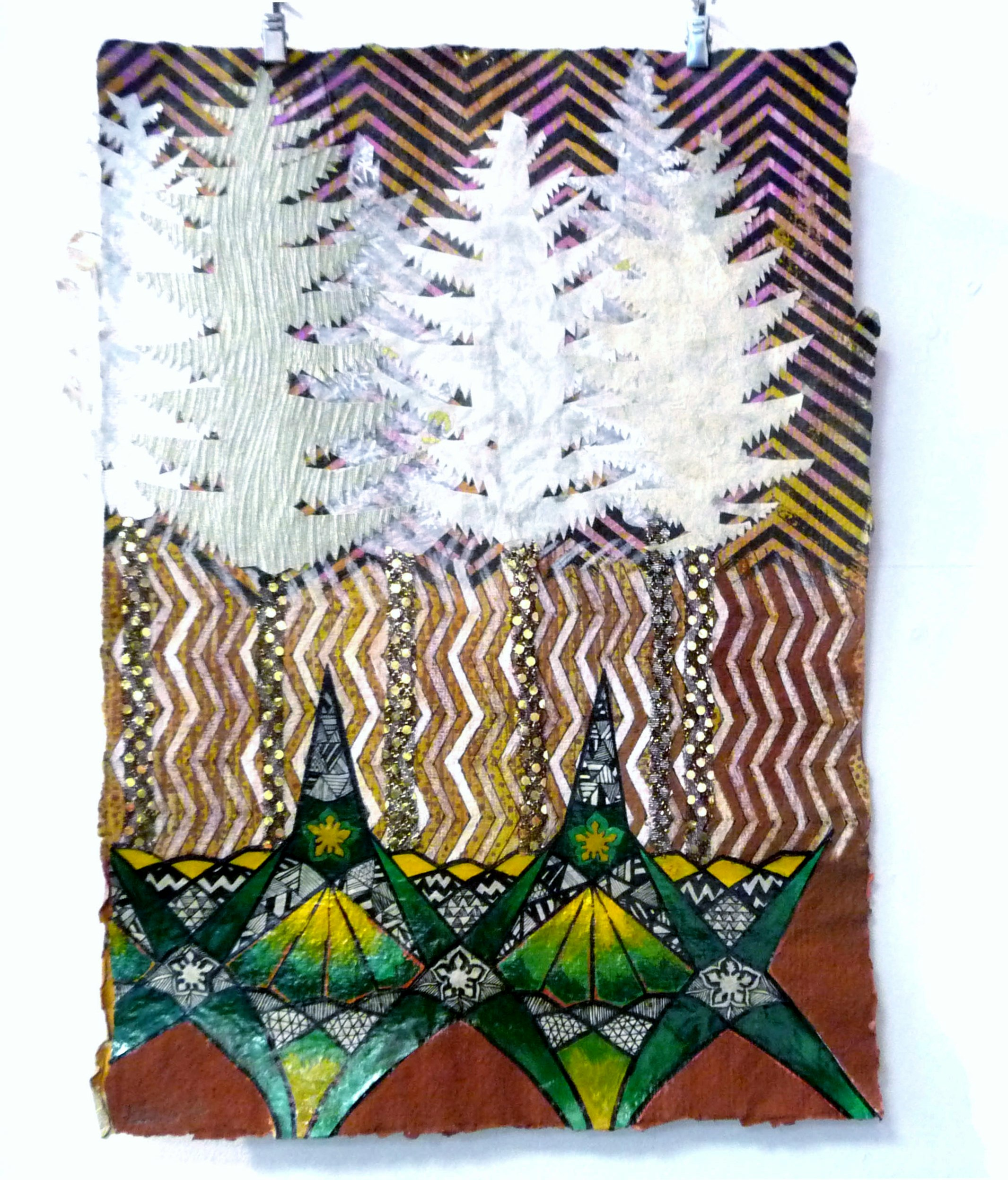 BENEATH THE FOREST 2014 by Eimear Kavanagh, ink, gouache, paper collage, fabric, secrets