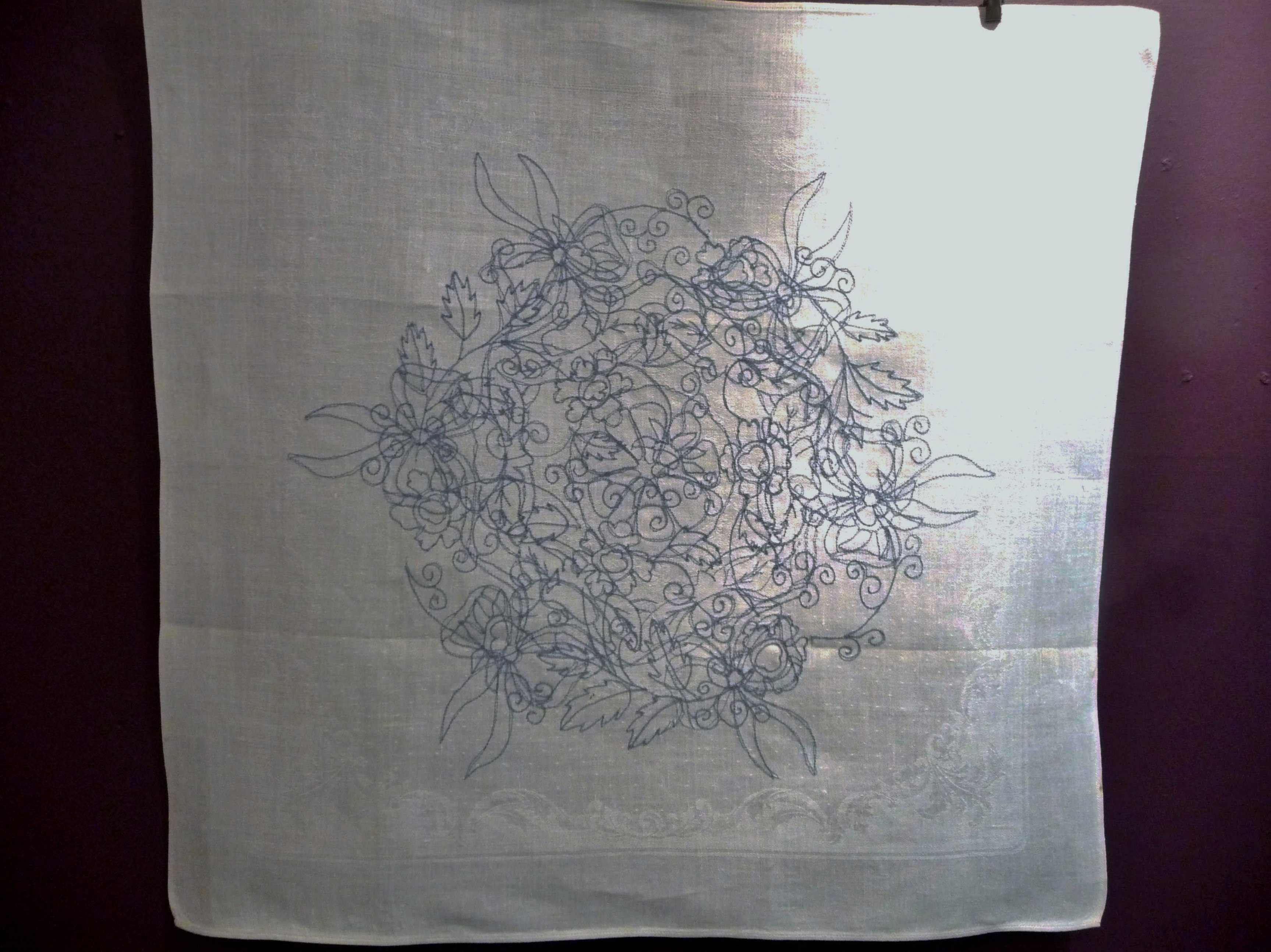 MANDALA FOR THE EARTH 1 by Janet Wilkinson, machine stitch on damask napkin