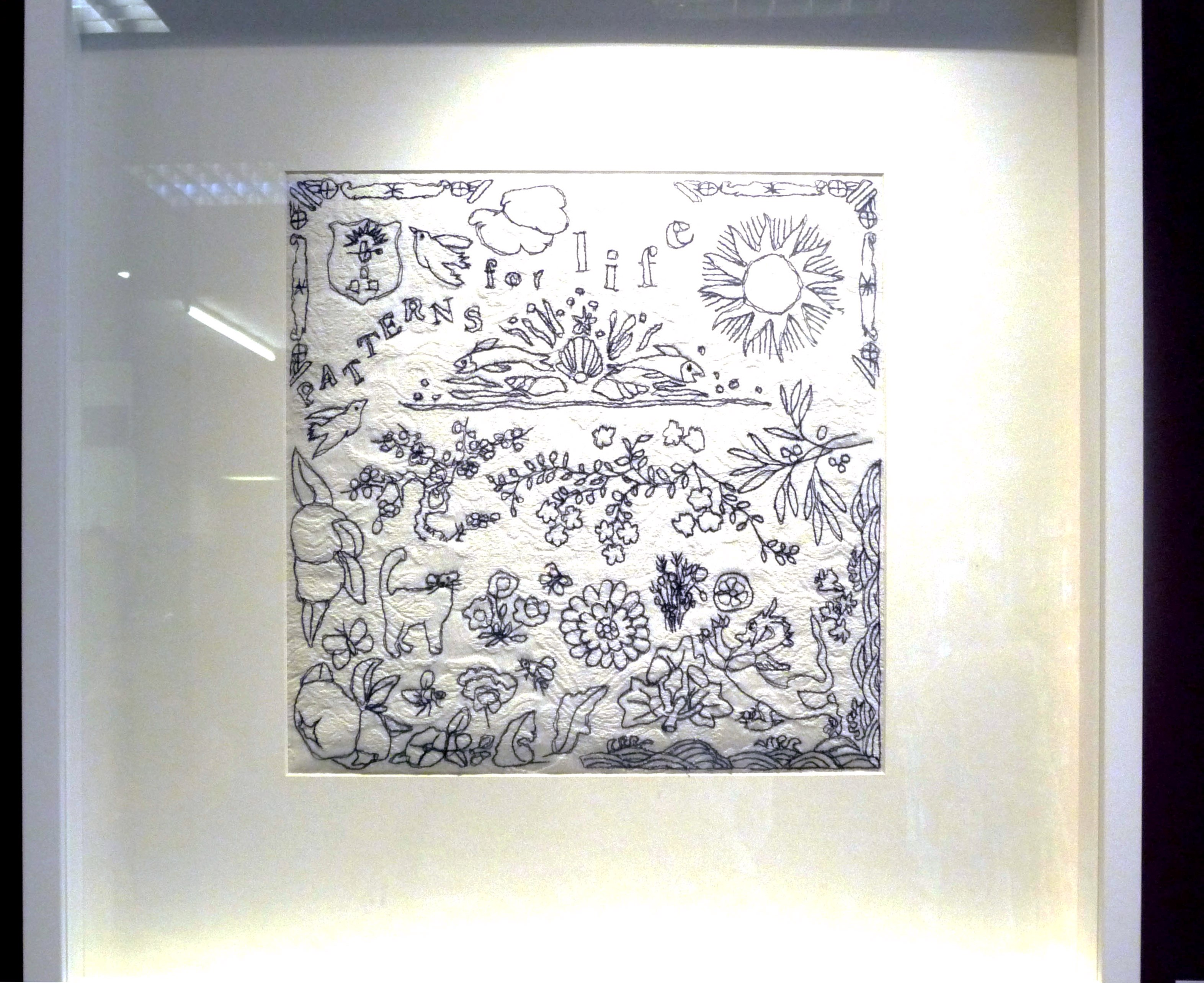 PATTERNS FOR LIFE by Janet Wilkinson, machine stitch on curtain
