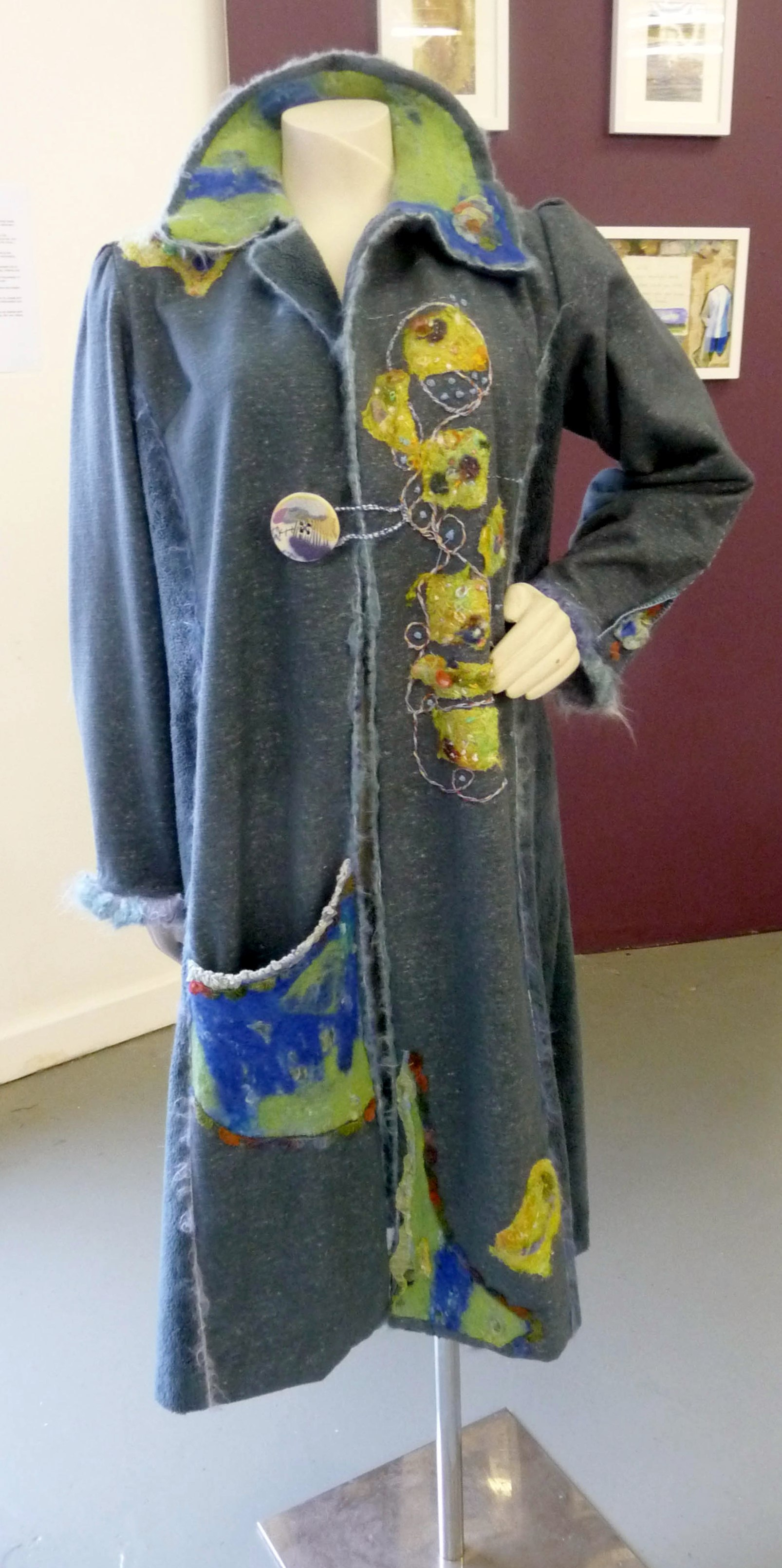 TOUCHING EARTH (COAT) by Yvonne Deegan, felting, machine and hand embroidery (front view)