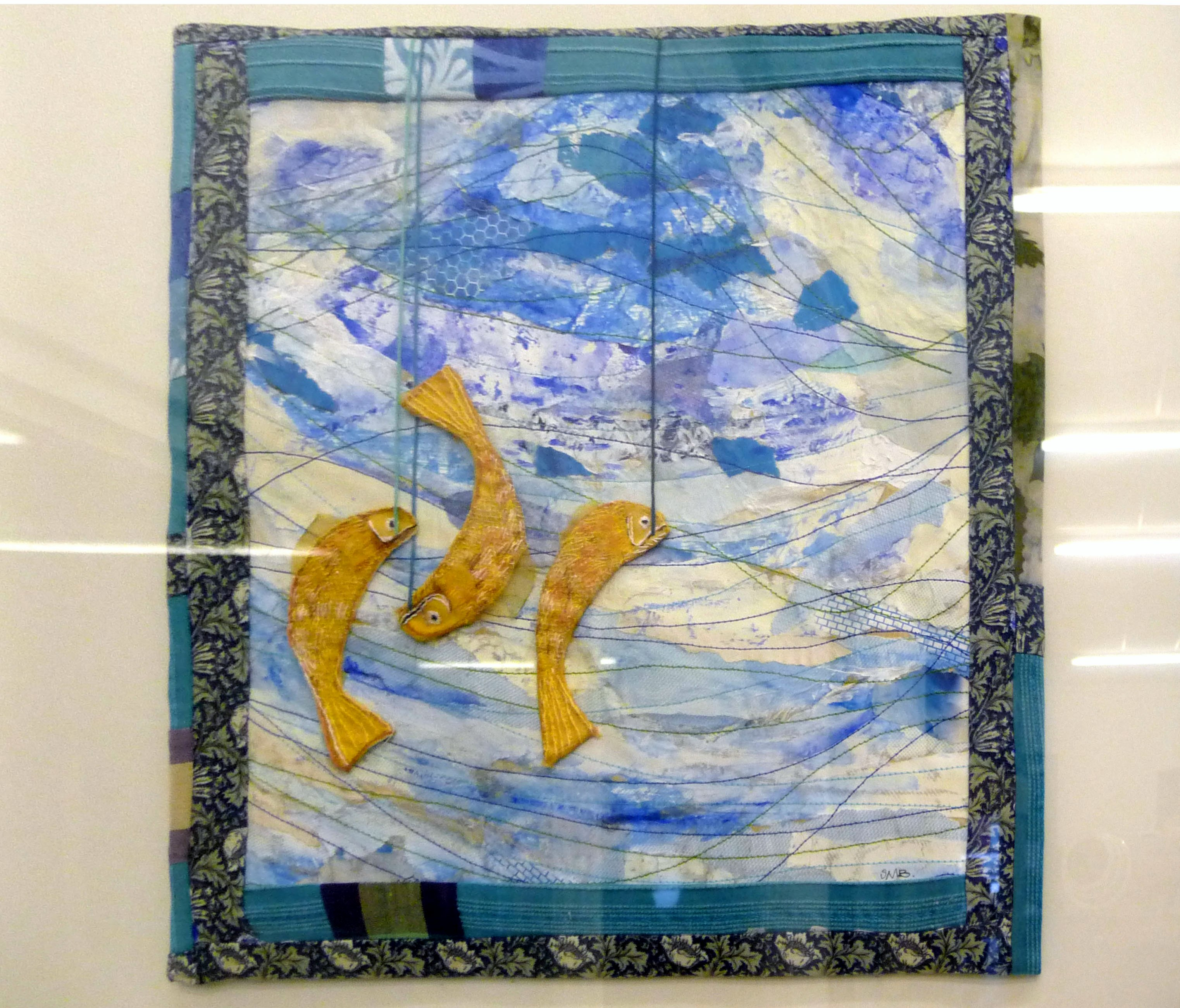 THREE LITTLE FISHES II by Sue Boardman, paper collage with stitch