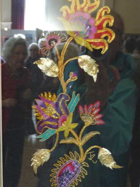 N Wales EG Biennial exhib, 2011, Touch of the East by Judy Roberts,goldwork (coloured threads)