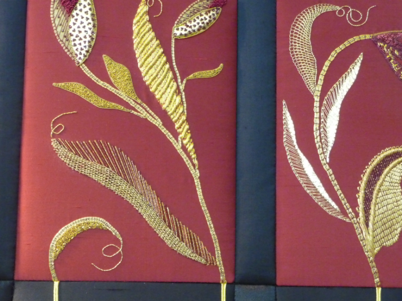 N Wales EG Biennial exhib, 2011, Goldwork Sampler (detail) by Sue Hinde
