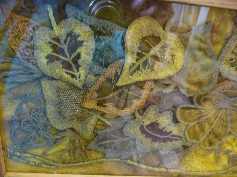 N Wales EG Biennial exhib, 2011, Fallen Leaves by Shirley Williams, machine embroidered silk on soluble