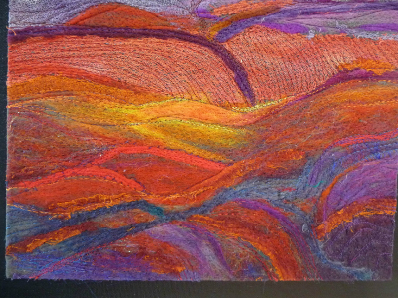 N Wales EG Biennial exhib, 2011, Felt Landscape by Alison Corfield, machine dry felted work with silk fibres, embroidered