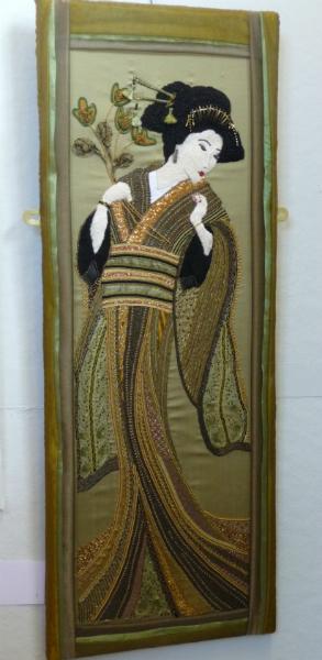 N Wales EG Biennial exhib, 2011, Geisha by Sue Hinde, goldwork