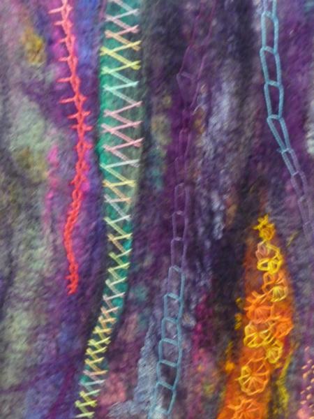 N Wales EG Biennial exhib, 2011, Twelve I (detail), Chimera Challenge, handmade wet felt, dry felted and stitched (twelve stitches)