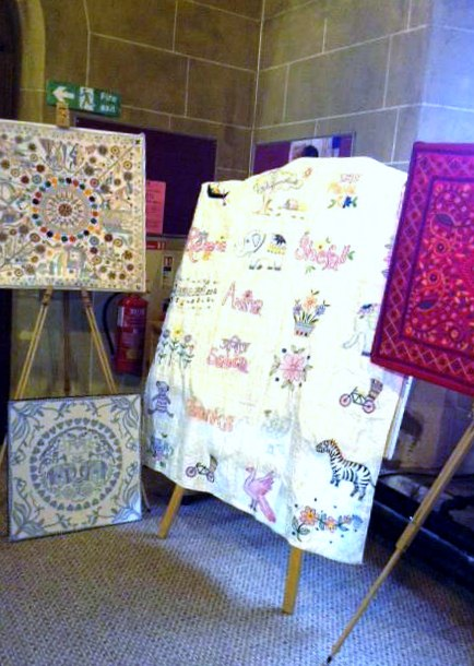 Kantha quilts on display at Threading Dreams exhibition in St Barnabas, March 2018