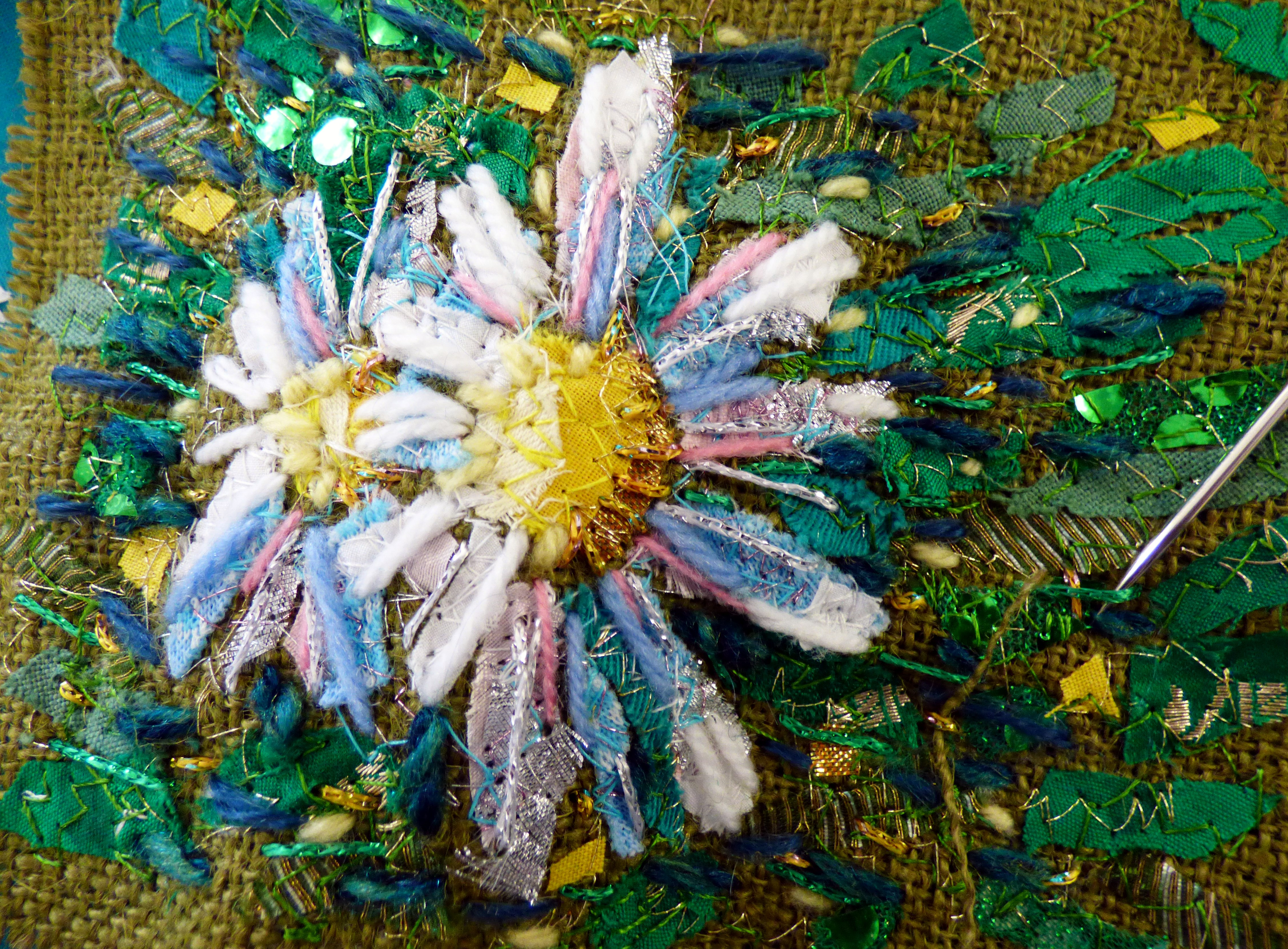 "Richard Box sample ""Daisies"" embroidery at Richard Box ""Daisies"" Workshop, August 2016"
