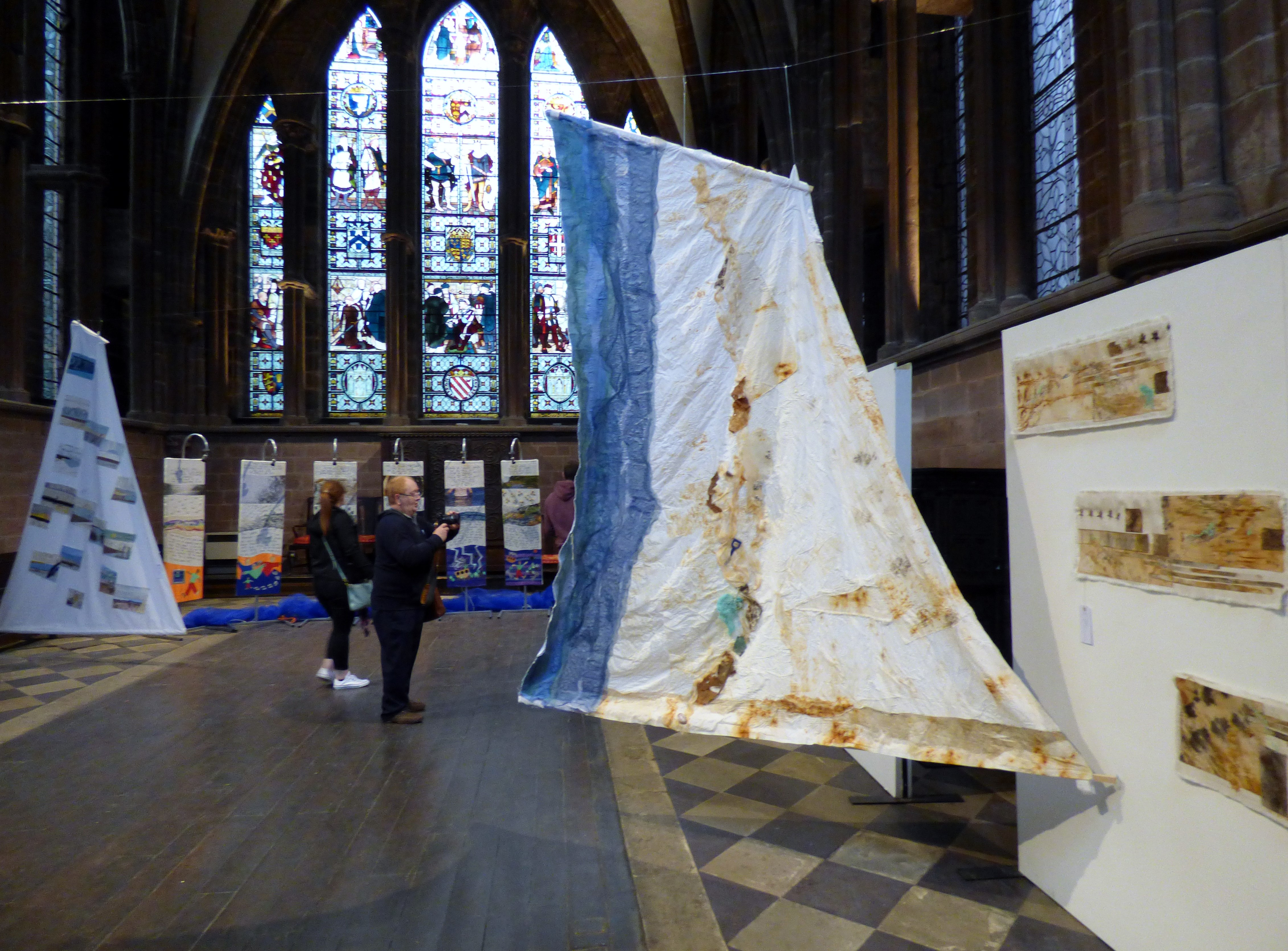ON THE EDGE OF THE SEA by Sue Reeve, fabrics and stitch with found objects, Textile 21, Chester Cathedral 2019