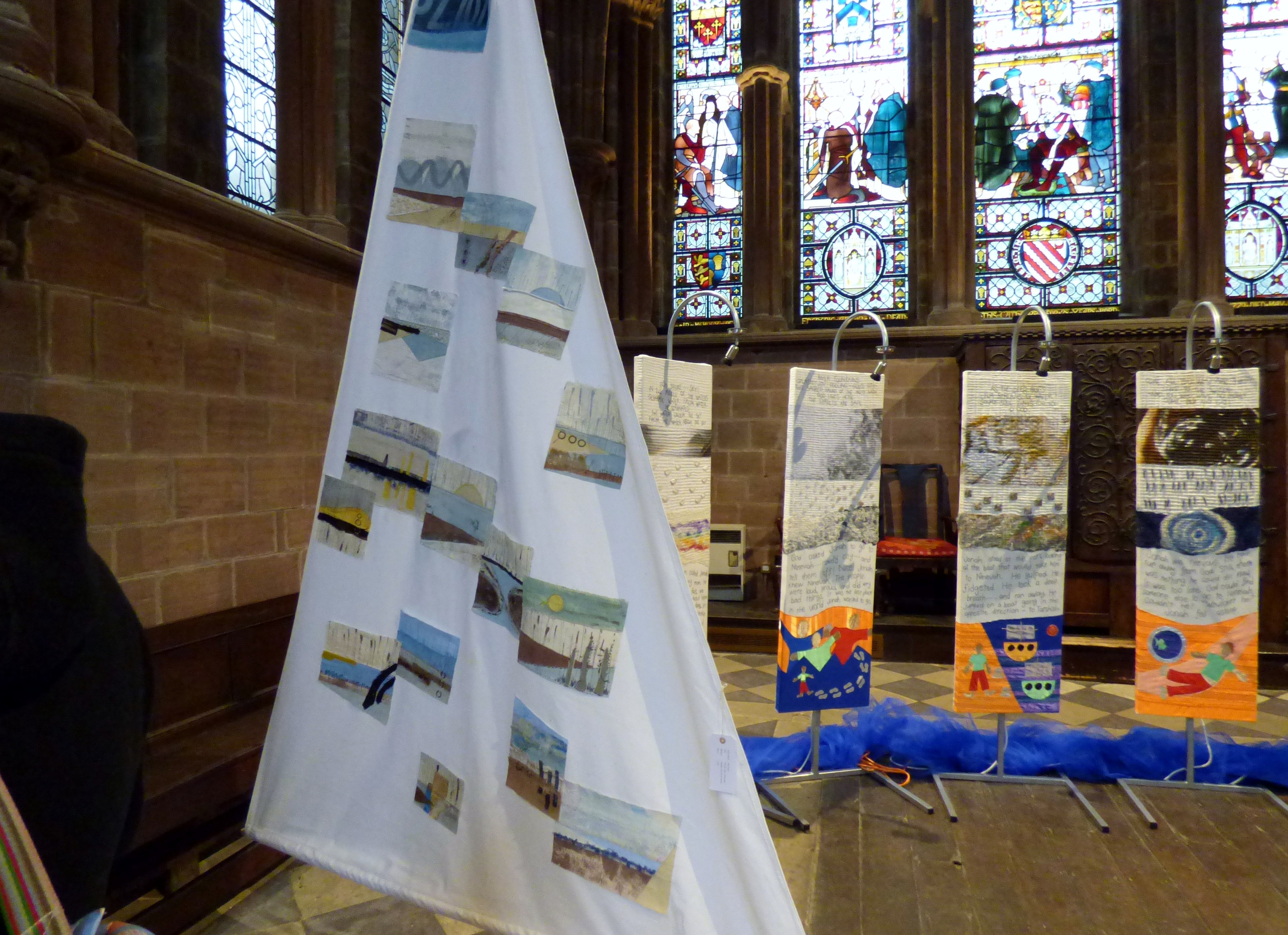 ON THE EDGE OF THE TIDE 1 by Elsa Buch, textiles and mixed media, Textile 21, Chester Cathedral 2019
