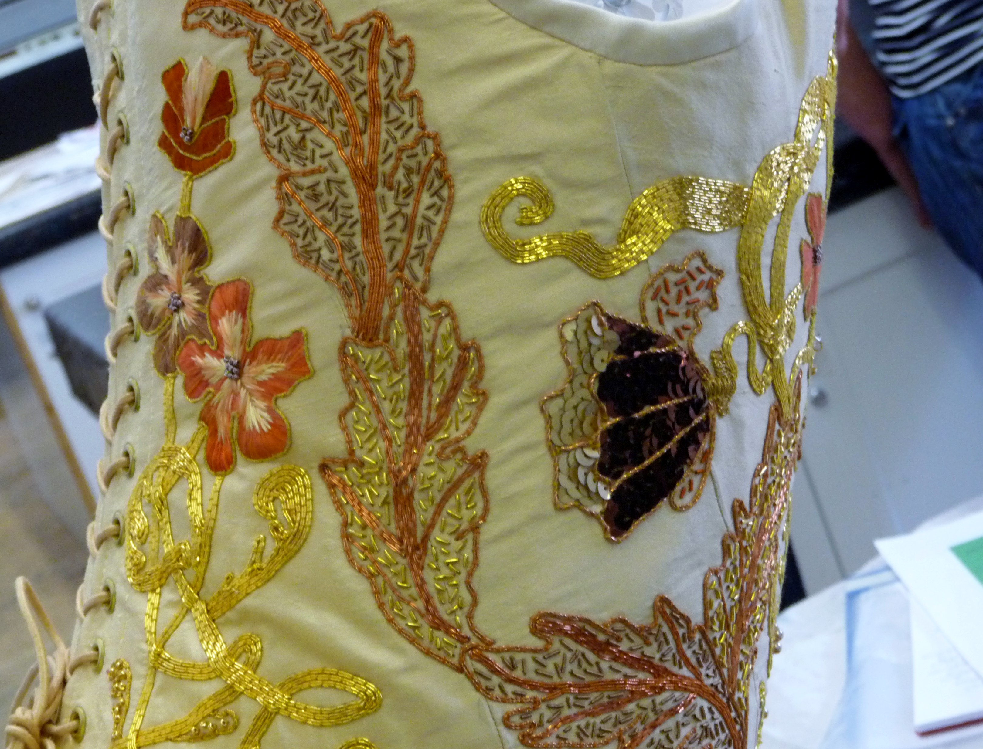 NW Regional Rose Bowl competition 2015 winner Gill Roberts. Detail of stitching..