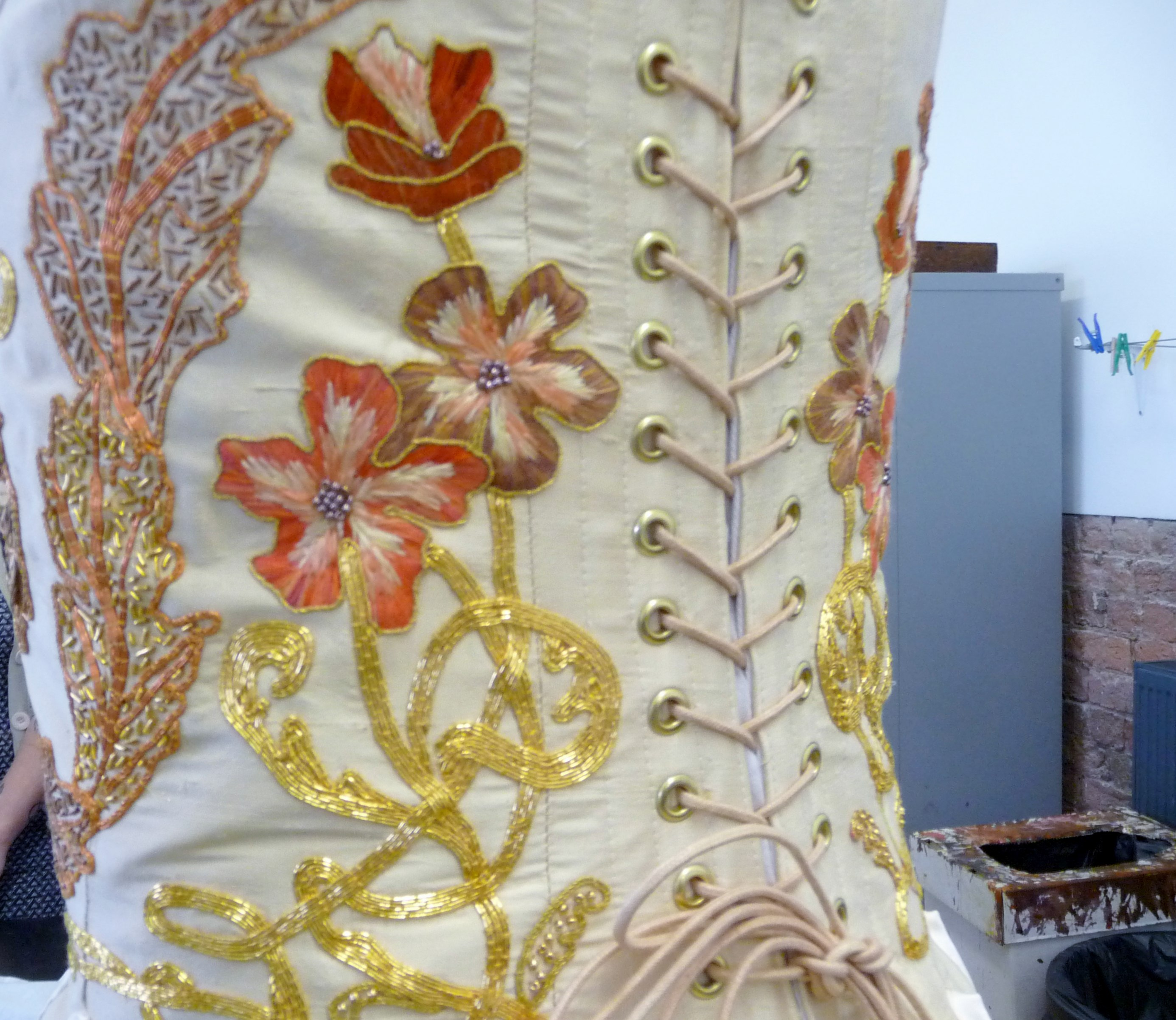 NW Regional Rose Bowl competition 2015 winner Gill Roberts. Detail of stitching.