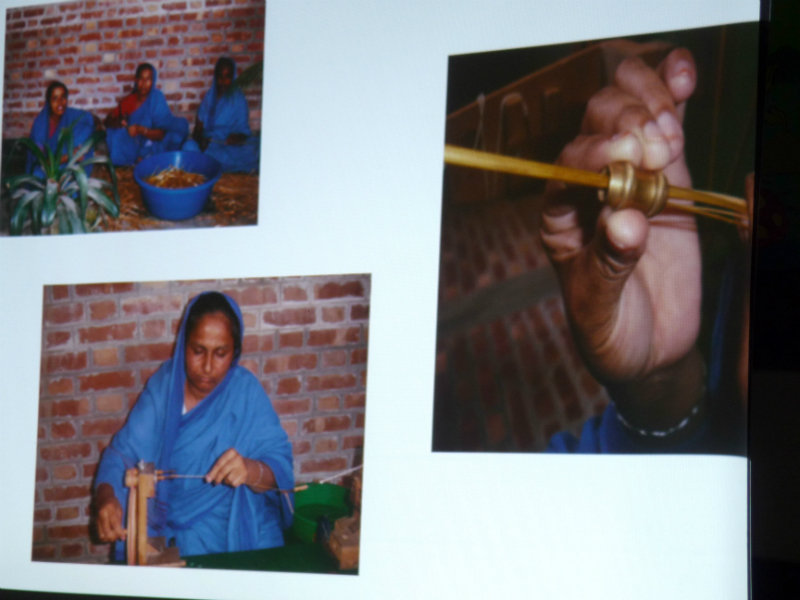 these photos show straw thread being made