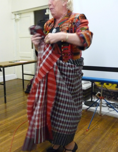 Ruby is showing us how the Bangladeshi man\'s garment is worn