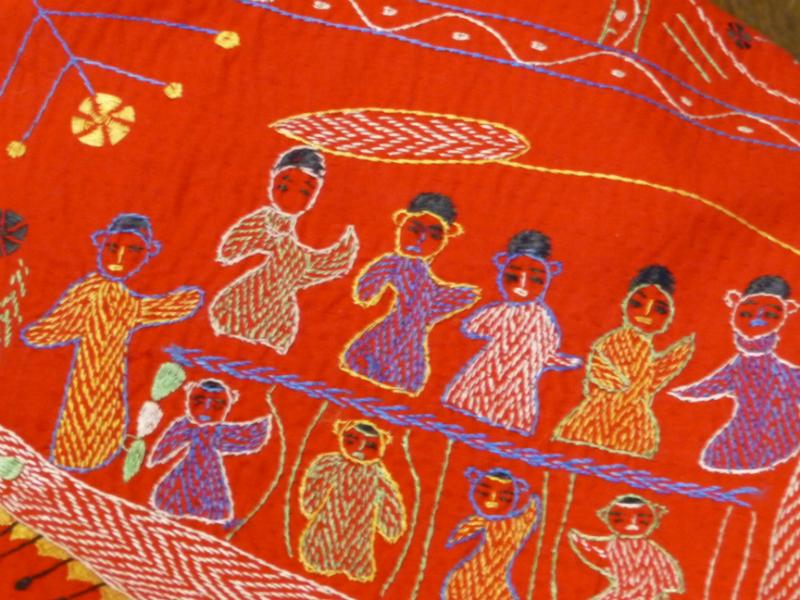detail of traditional Kantha embroidery