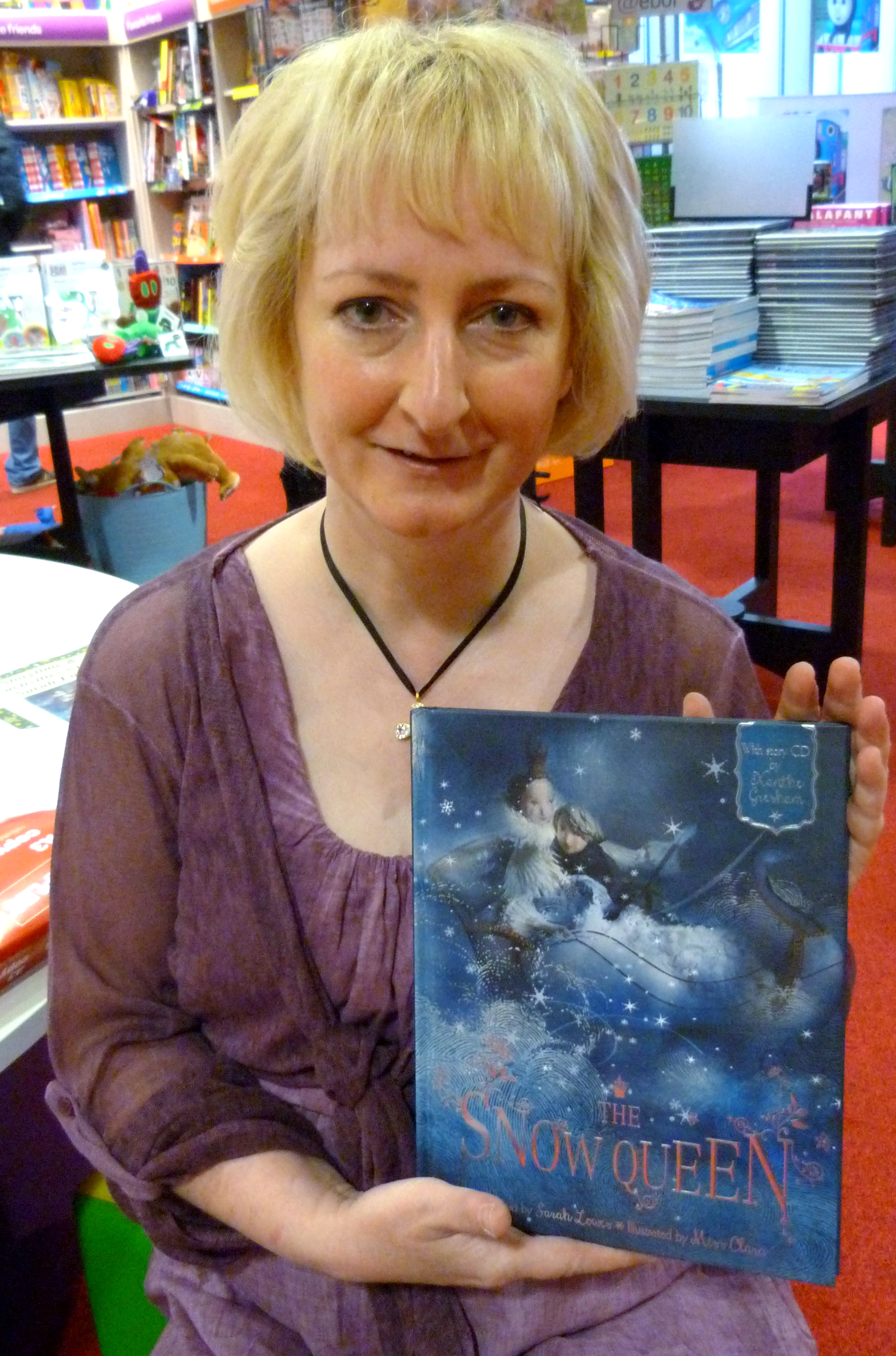"""Sarah Lowes has retold the story of """"The Snow Queen"""". This is her book launch at Waterstones in Liverpool One"""
