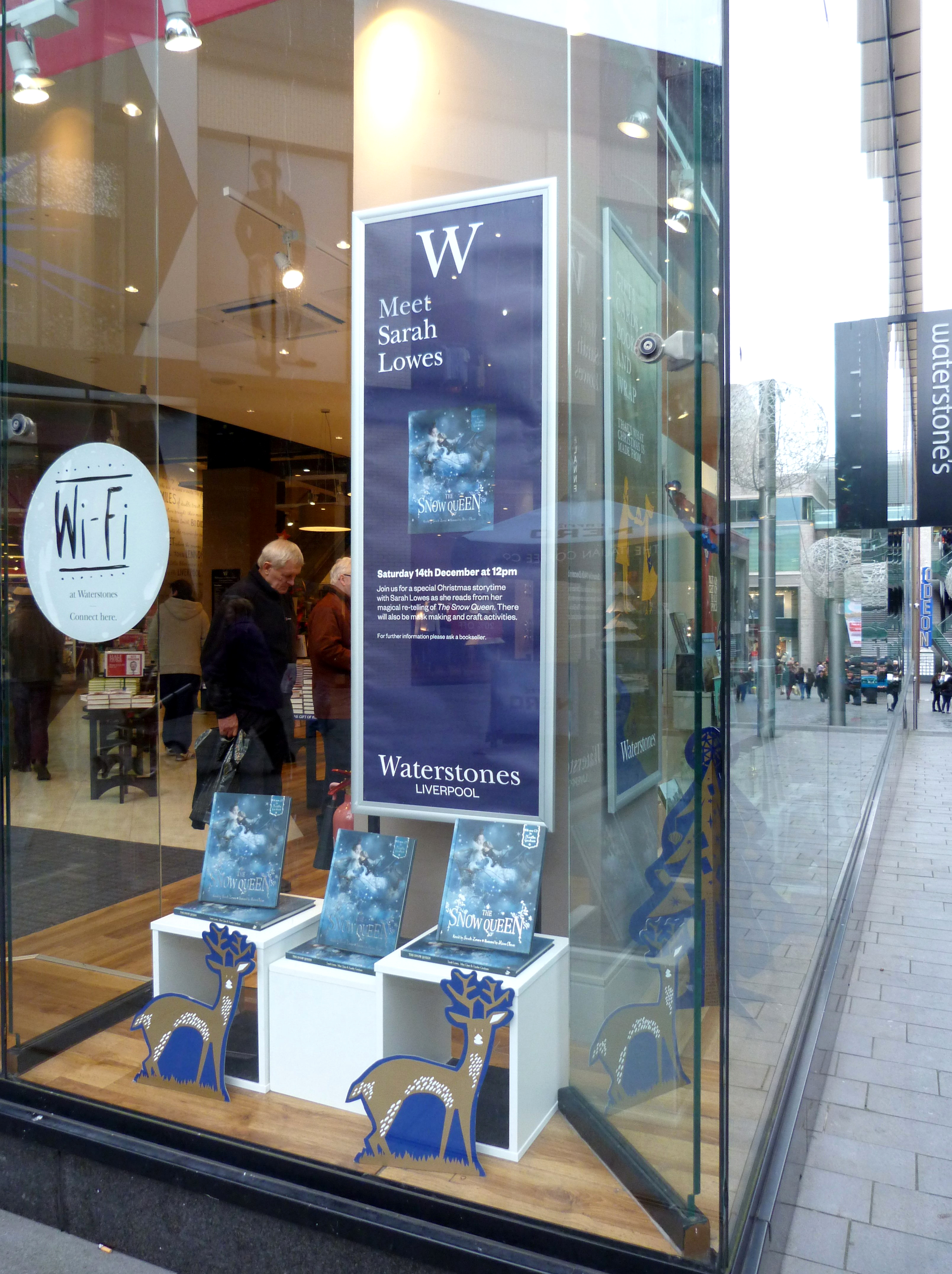 This is Waterstones in Liverpool One on 14th December 2013, the day of Sarah Lowes' book launch