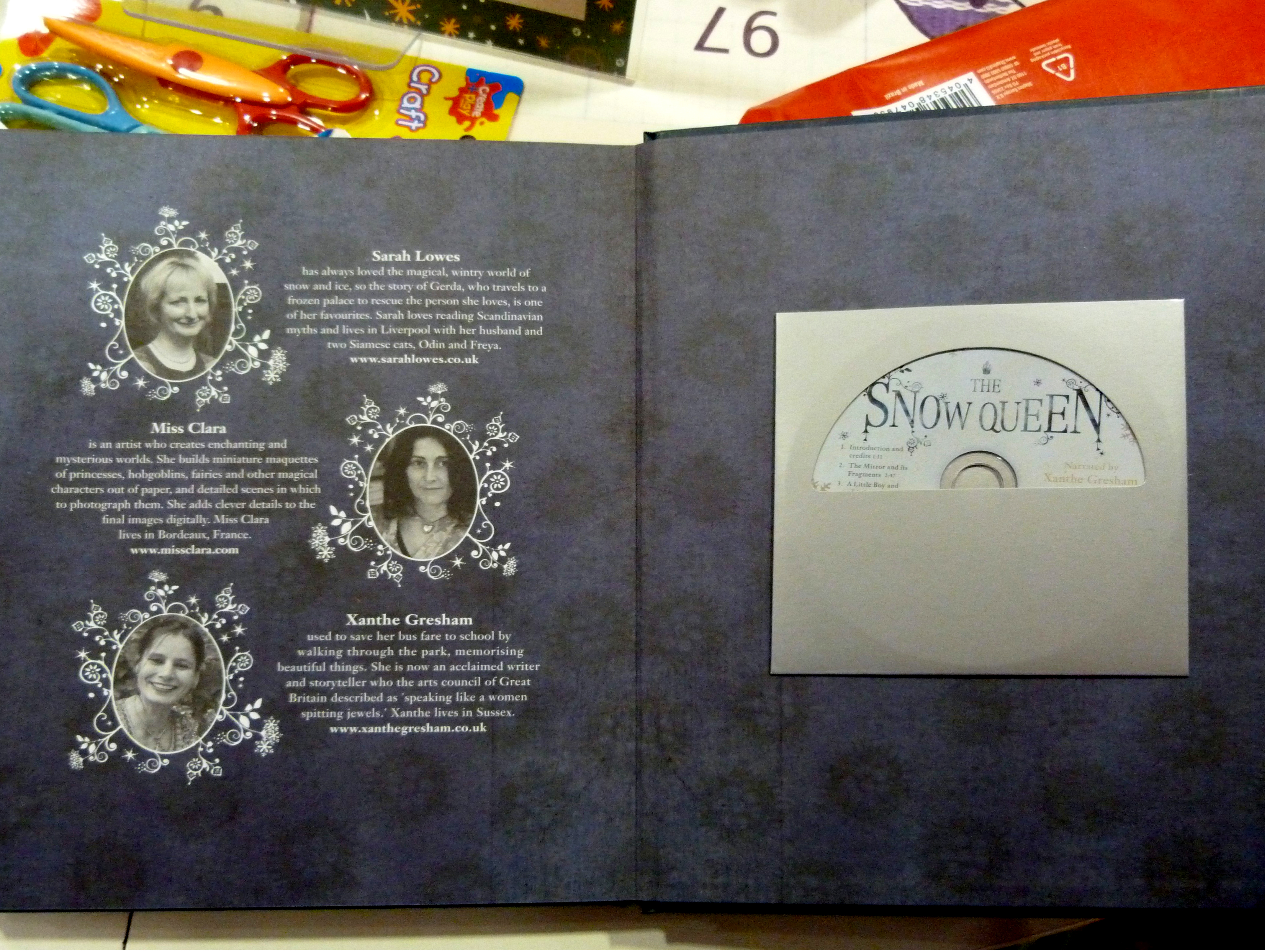 """inside the cover of """"The Snow Queen"""""""
