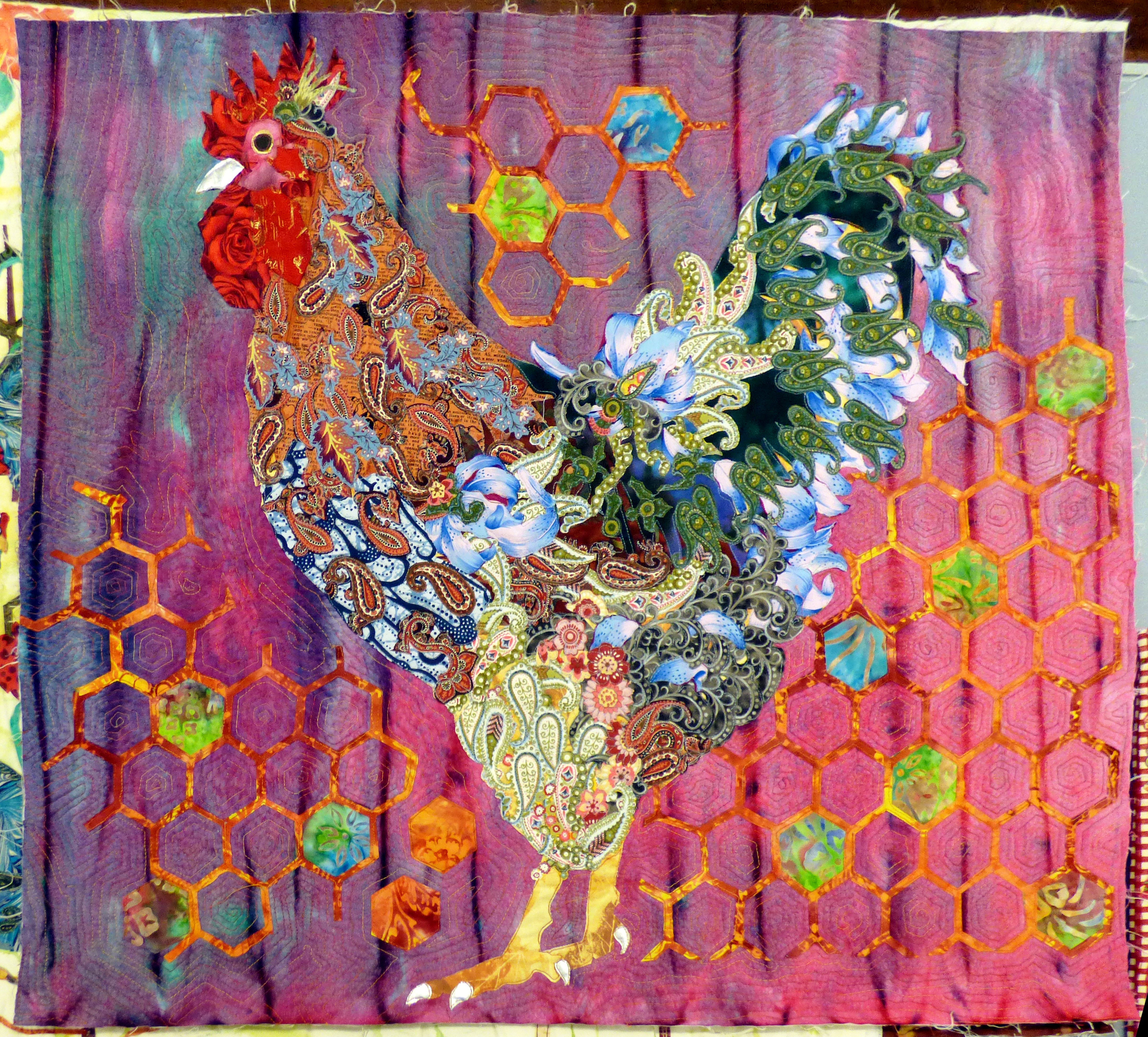 panel by Lizzie Wall at Raw Edge Applique workshop with Lizzie Wall