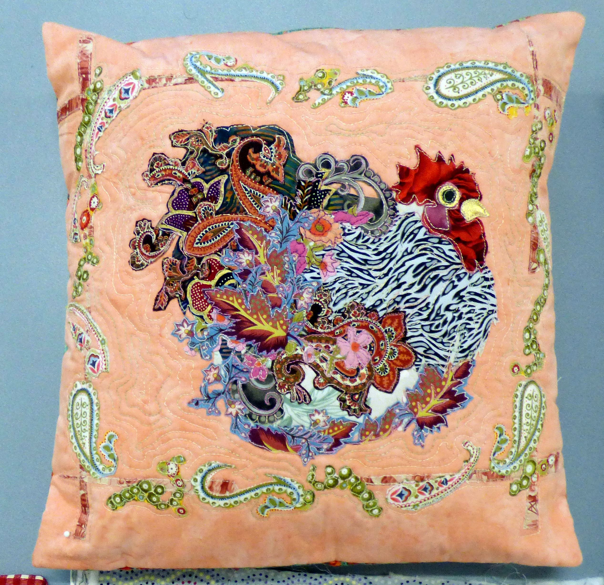 cushion by Lizzie Wall at Raw Edge Applique workshop with Lizzie Wall