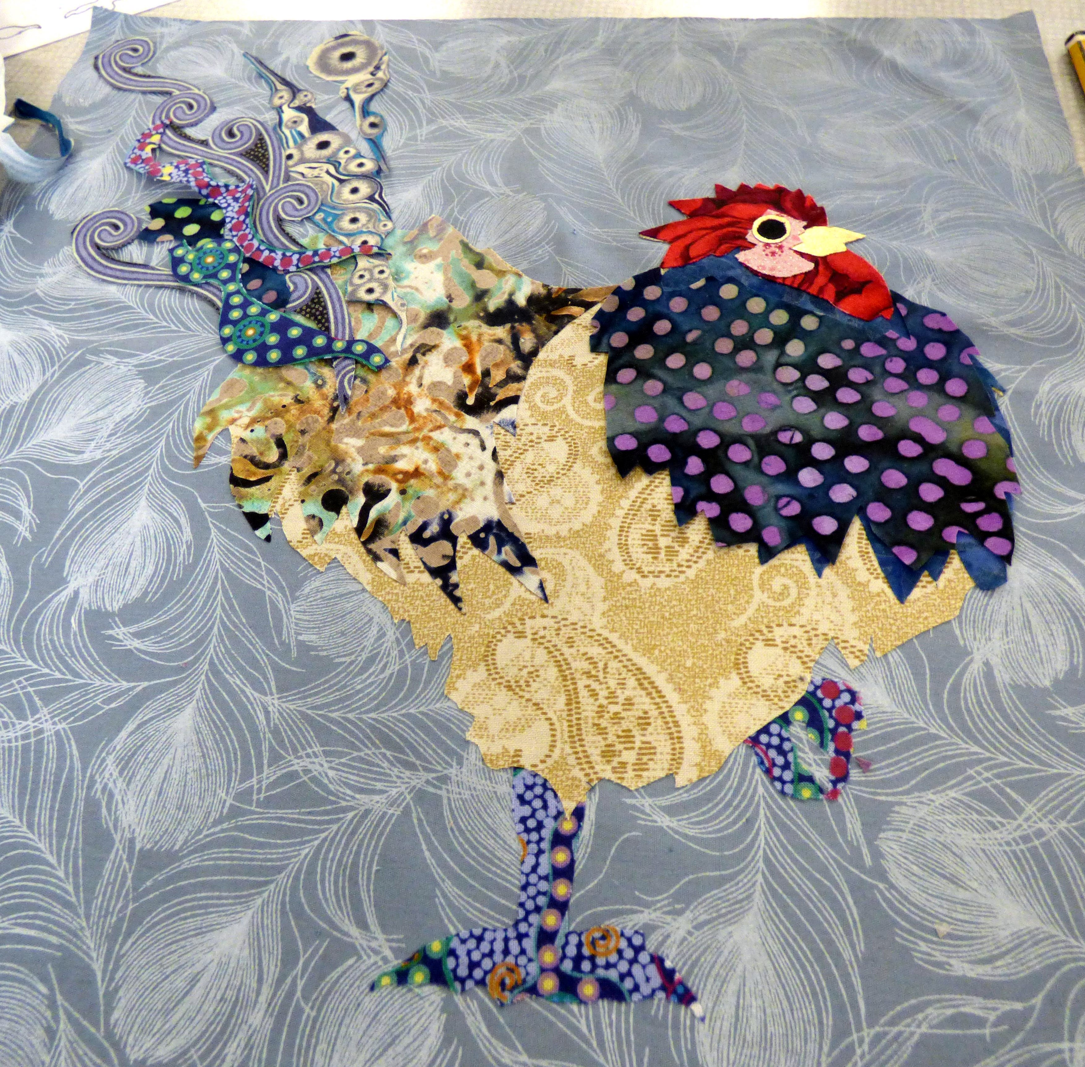 student's work at Raw Edge Applique workshop with Lizzie Wall