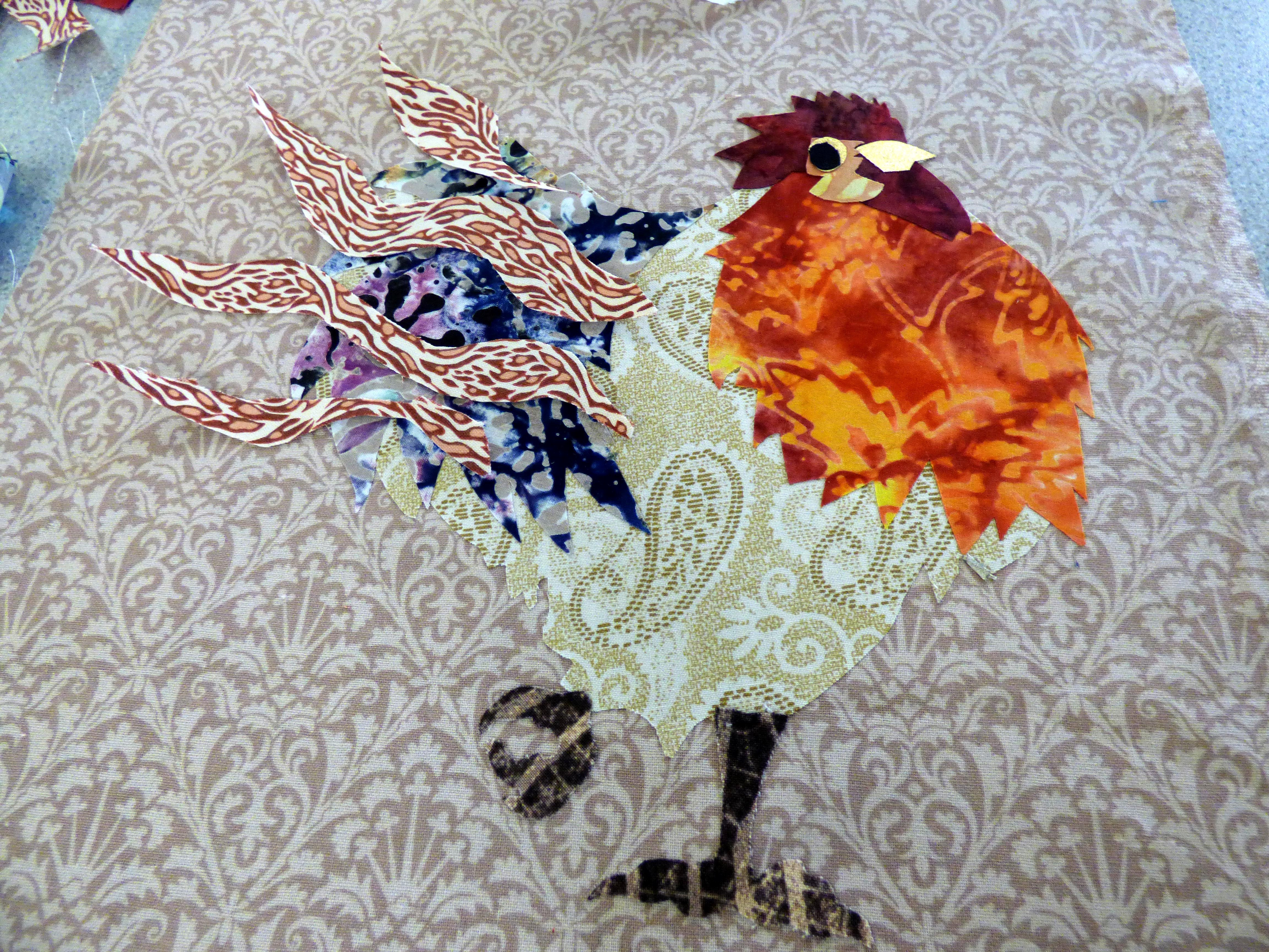 student's work in progress at Raw Edge Applique workshop with Lizzie Wall