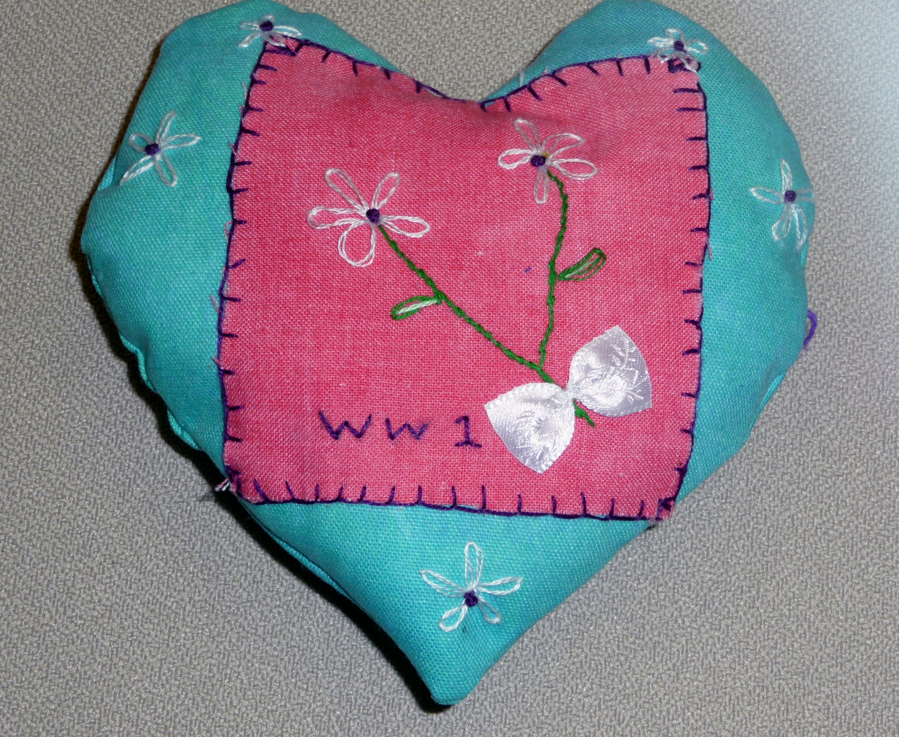 pincushion to commemorate World War 1 made by Chloe, a Merseyside Young Embroiderer