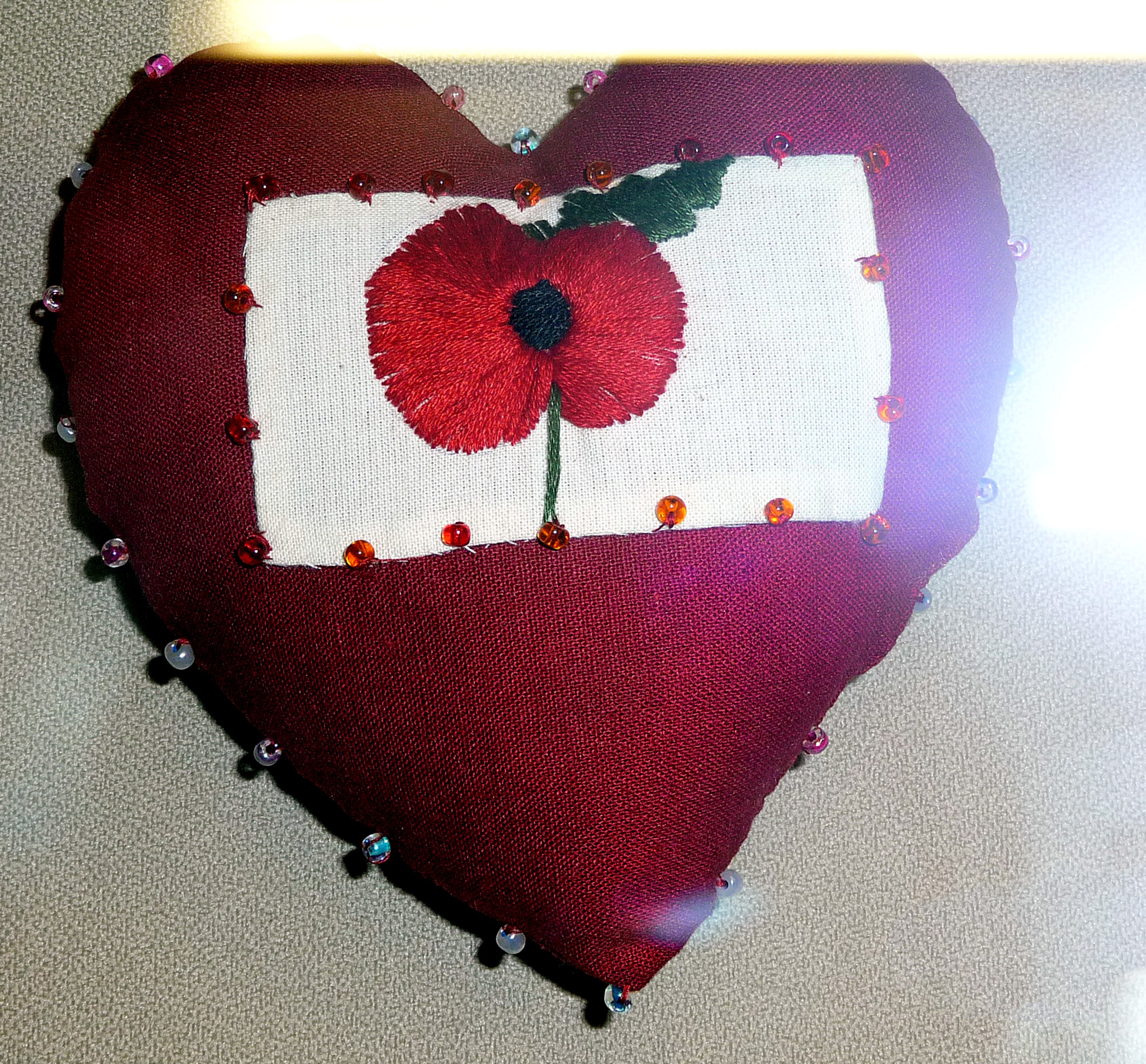 pincushion to commemorate World War 1 made by Sharon Brown