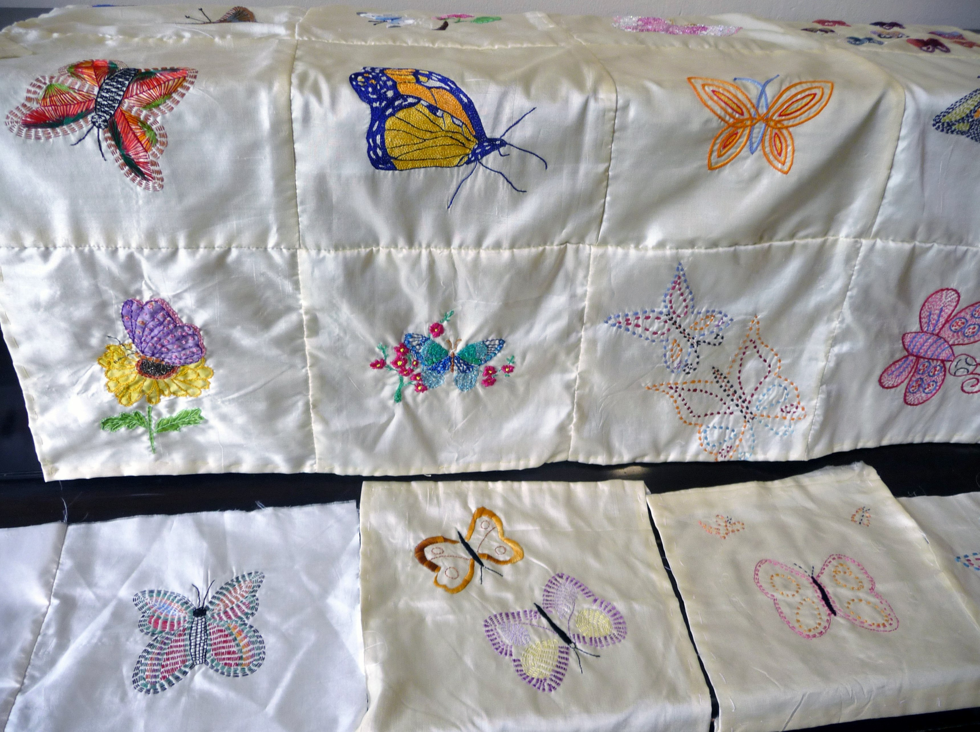 embroidered butterflies on the 2015 Sreepur quilt