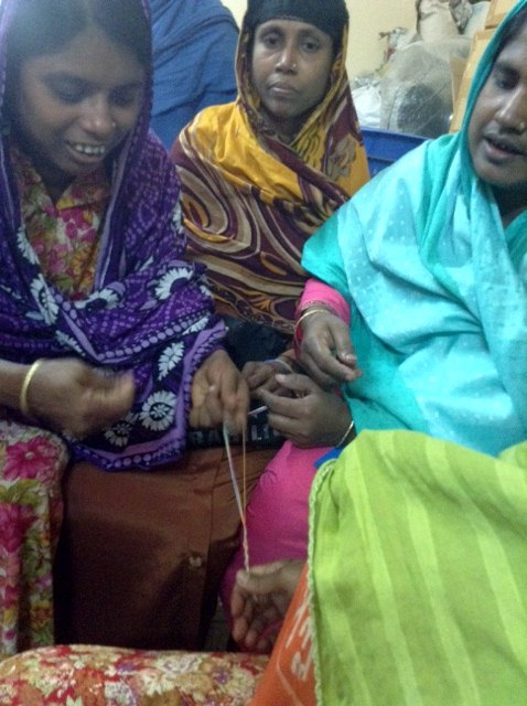 glasses string being woven in Sreepur, Bangladesh