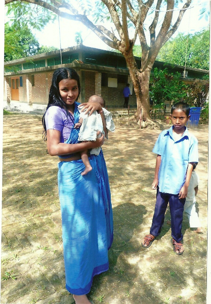 Our new mum age 14 with 6 week old baby borm on the street in Dhaka she is now doing embroidery with the other mothers
