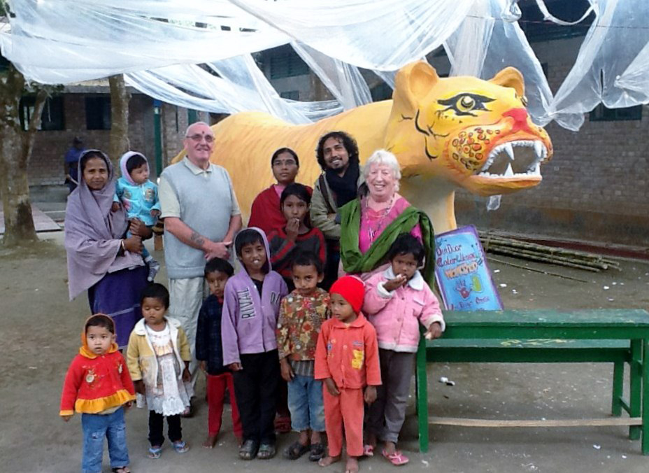 Millon, the art teacher at Sreepur made a large sculpture of the Bengal Tiger with all the children, mothers, and staff - even Ken and Ruby helped to make it. It was amazing!