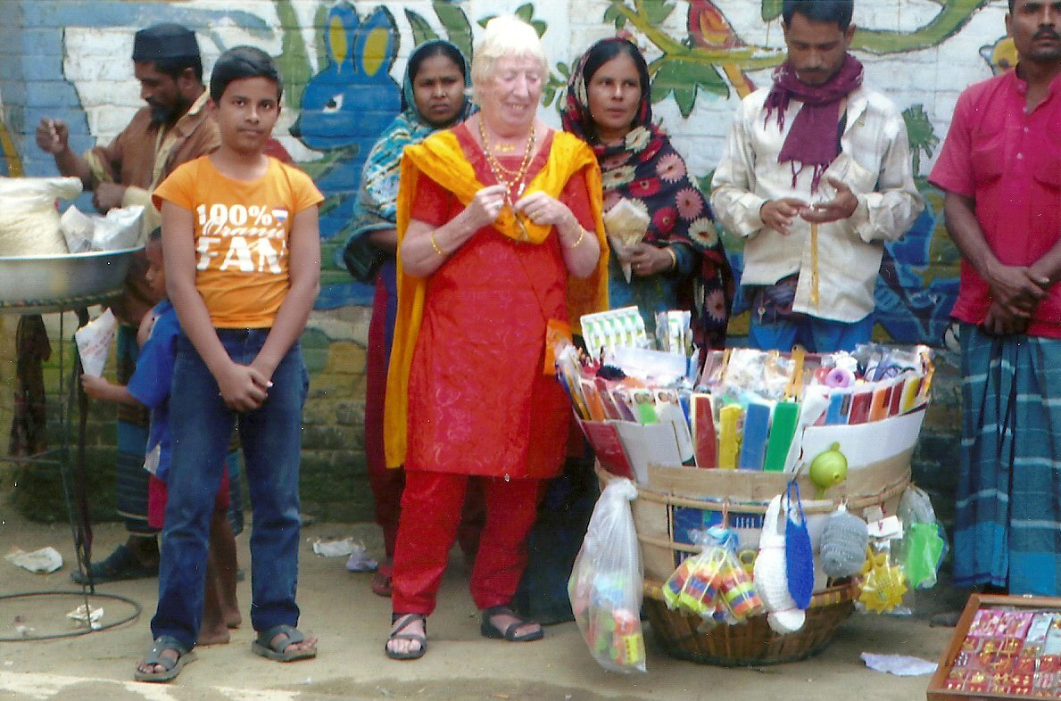 Rubina Porter MBE and friends buying goods from the stalls in Bangladesh 2014