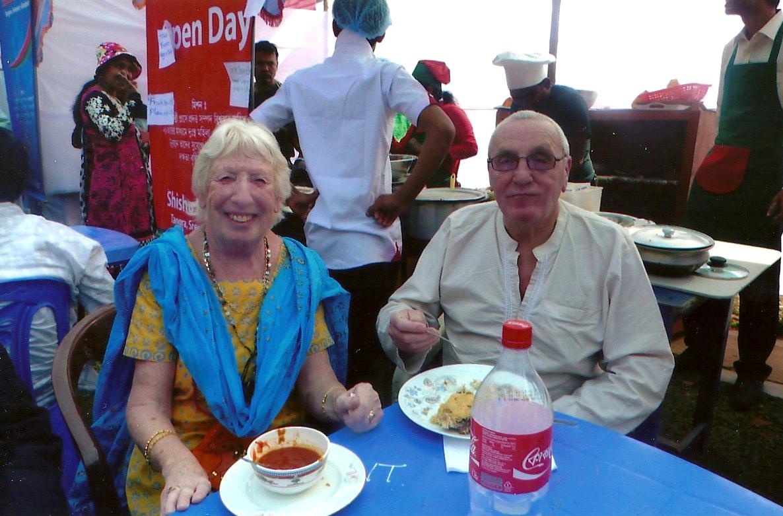 Ruby and Ken enjoying lunch in Bangladesh 2014