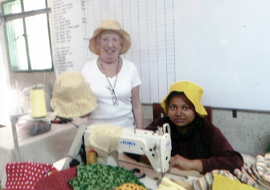Paural and Ruby with sunhats, made for a UK order in Bangladesh