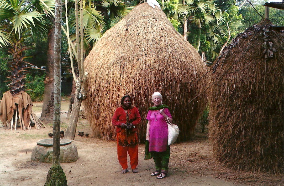 this is where the village mothers who embroidered the shoe bags live on the outskirts of Sreepur Village