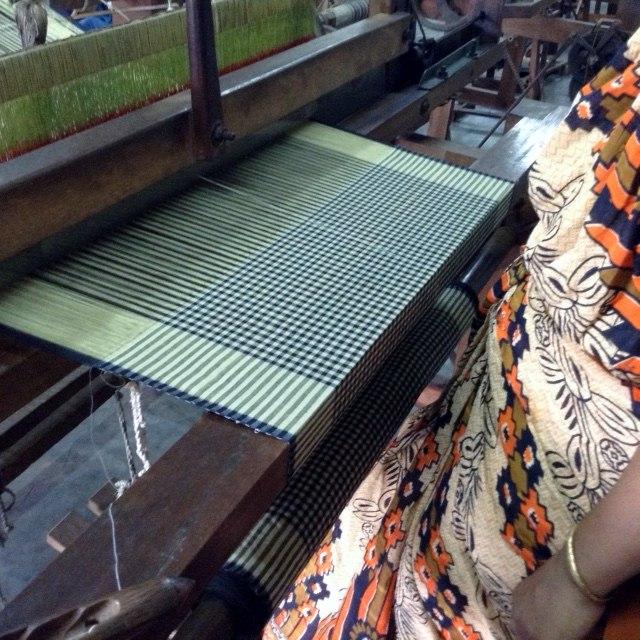 scarves being woven on the handloom in Sreepur, Bangldesh