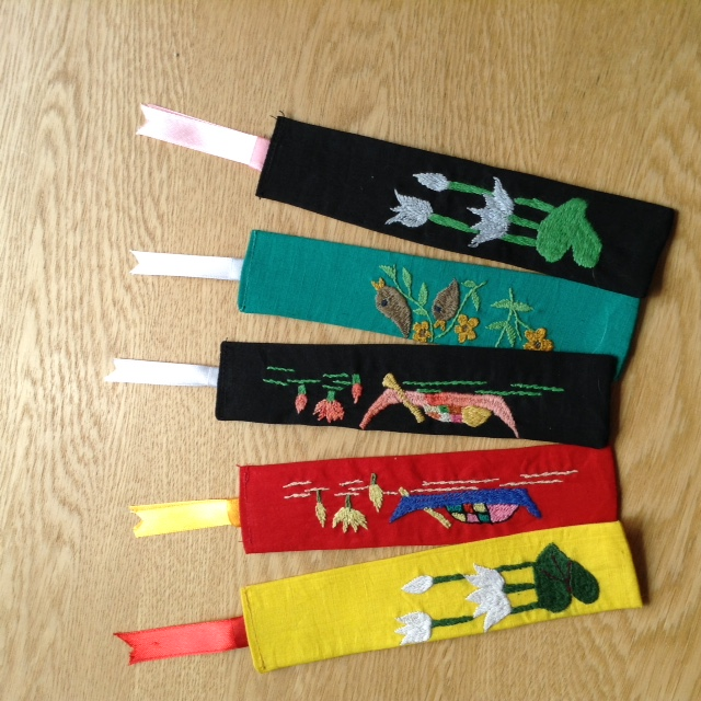 hand embroidered bookmarks made in Sreepur, Bangladesh